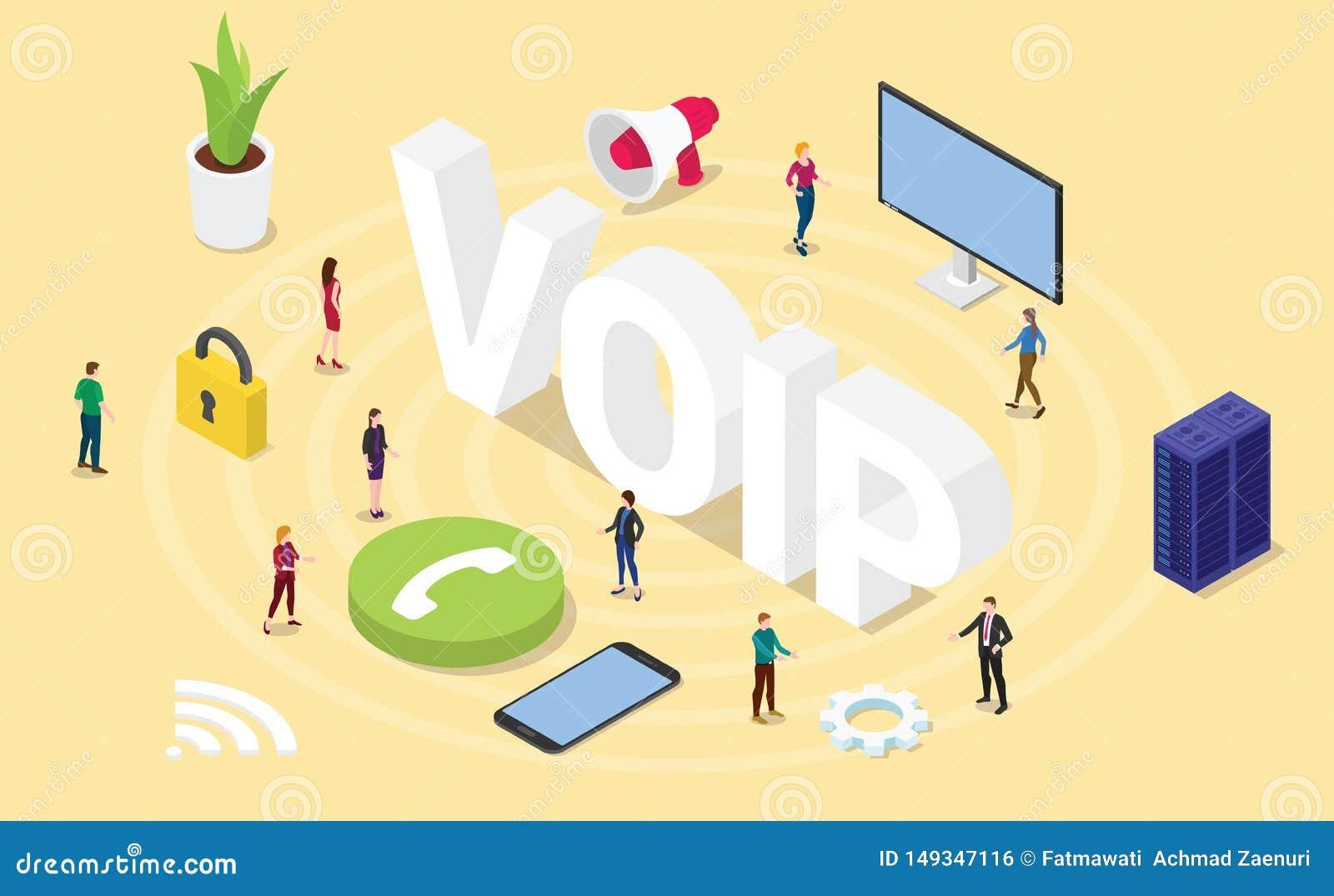 Voz de Voip sobre concepto del Internet Protocol con palabras grandes y gente del equipo e icono con 3d el estilo isometry isom?t