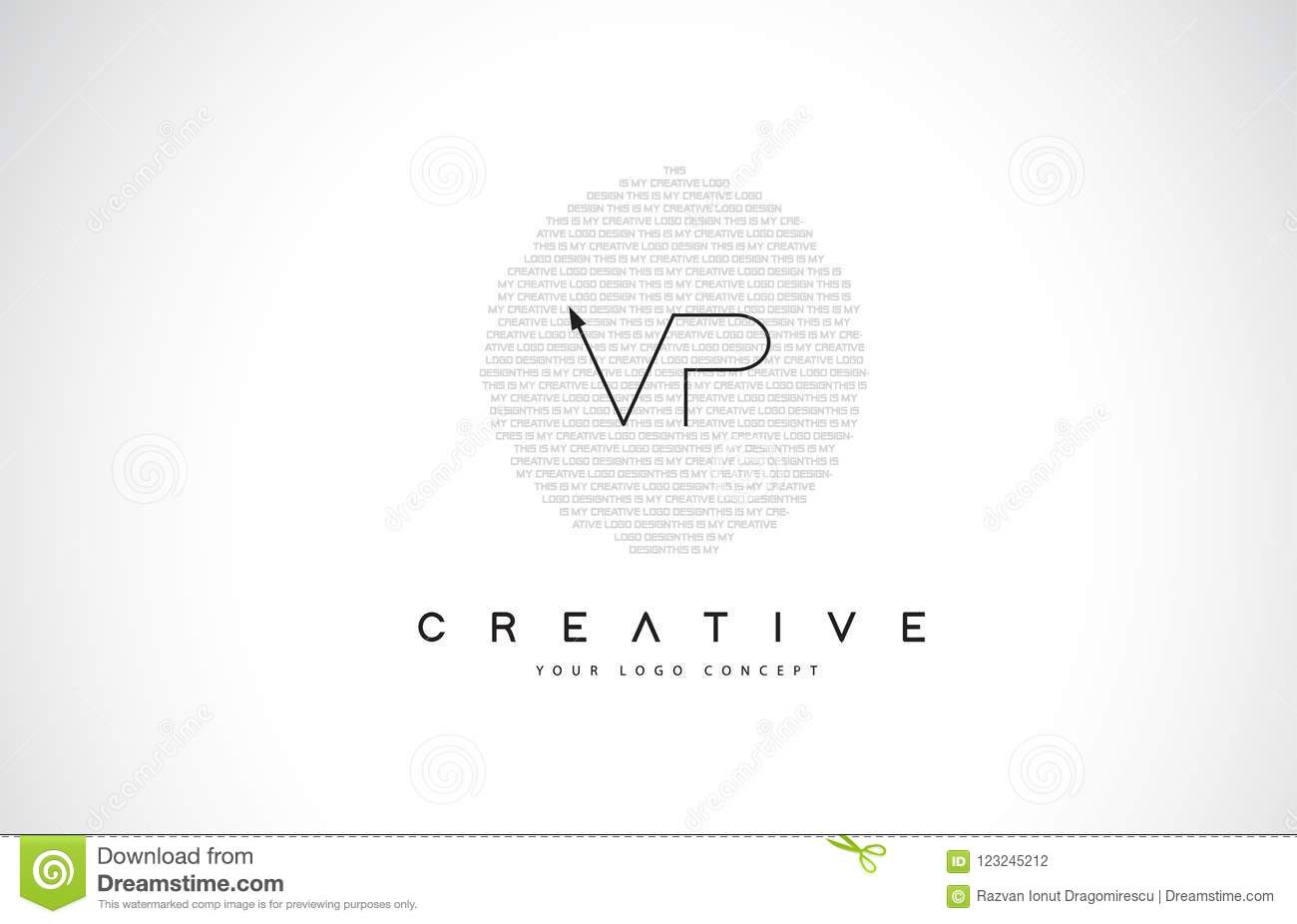 vp v p logo design with black and white creative text letter vec