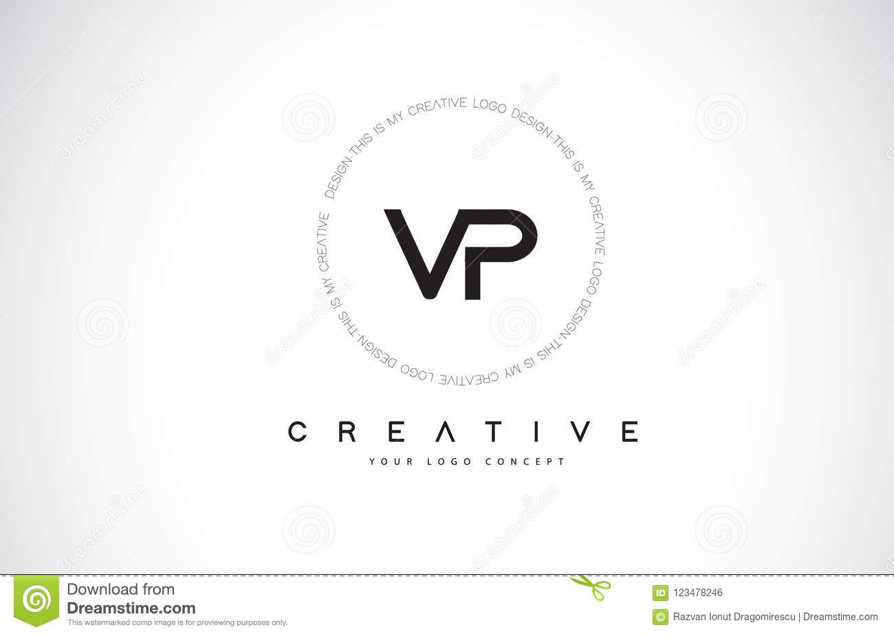 Vp V P Logo Design With Black And White Creative Text Letter Vector
