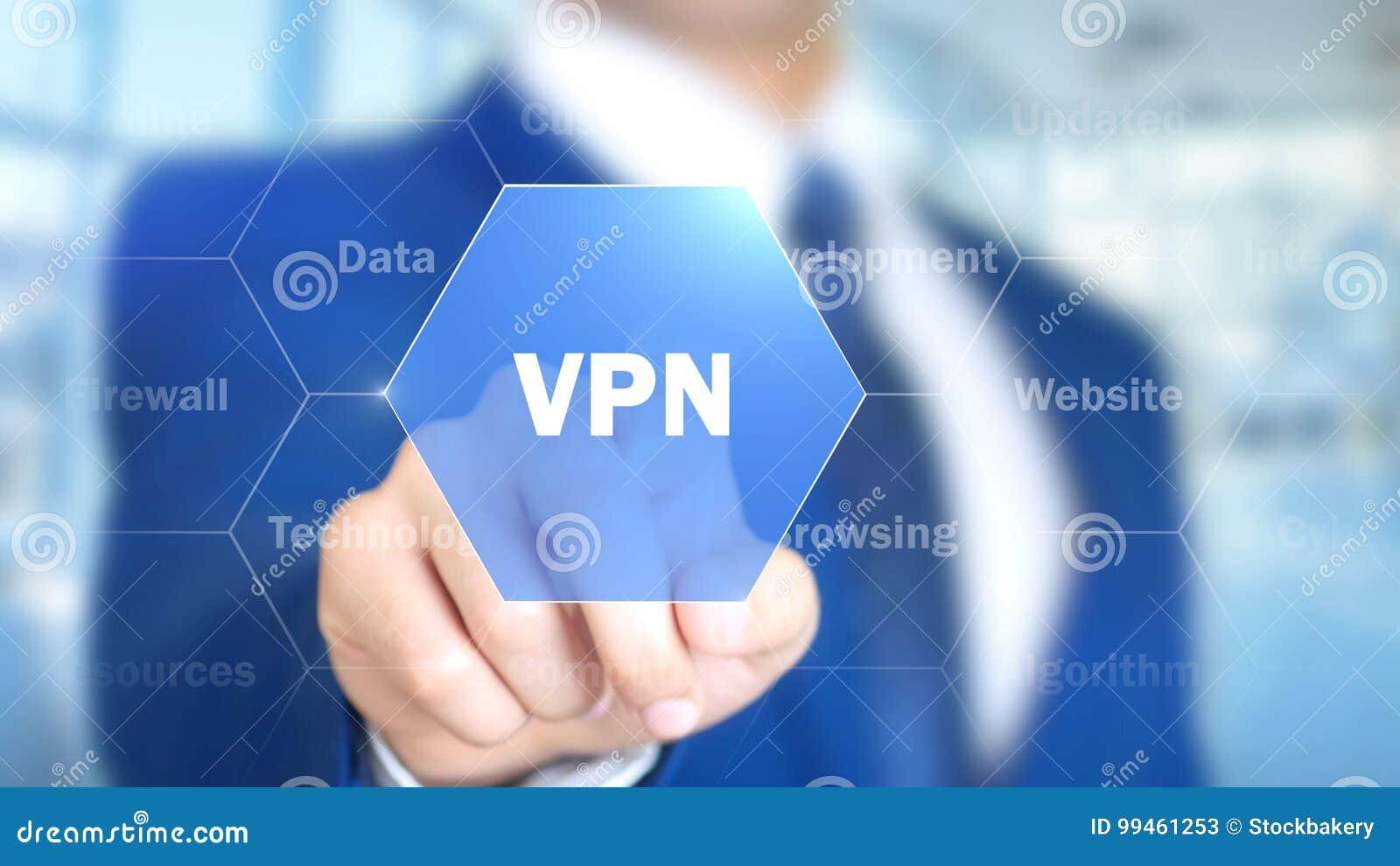 VPN, homem que trabalha na relação holográfica, tela visual