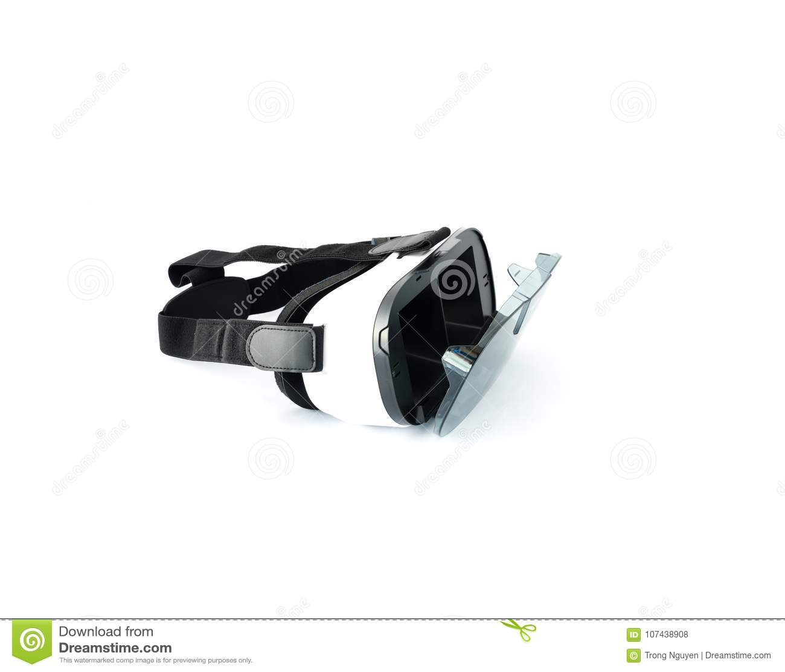 VR glazen of Virtuele die Werkelijkheidshoofdtelefoon op wit worden geïsoleerd