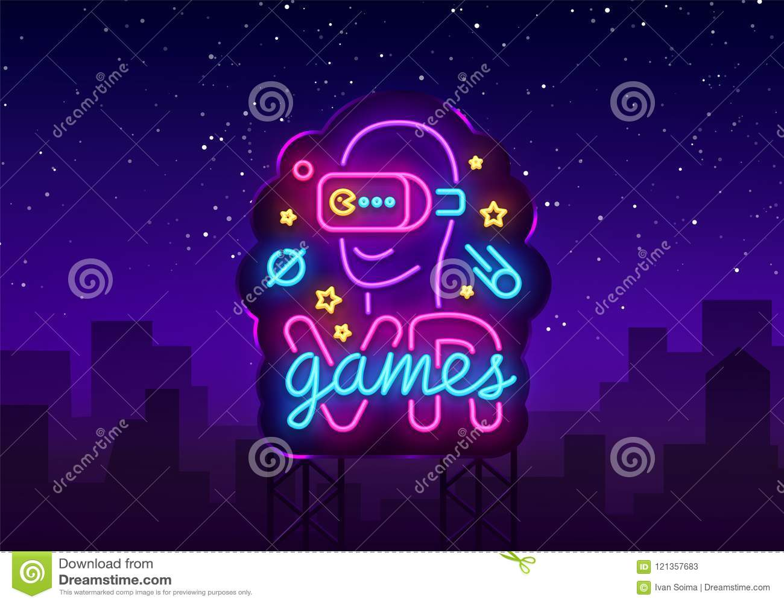 VR het tekenvector van het spelenneon De virtuele Spelen van Werkelijkheidslogotype, Embleem in Modern Tendensontwerp, Vectormalp