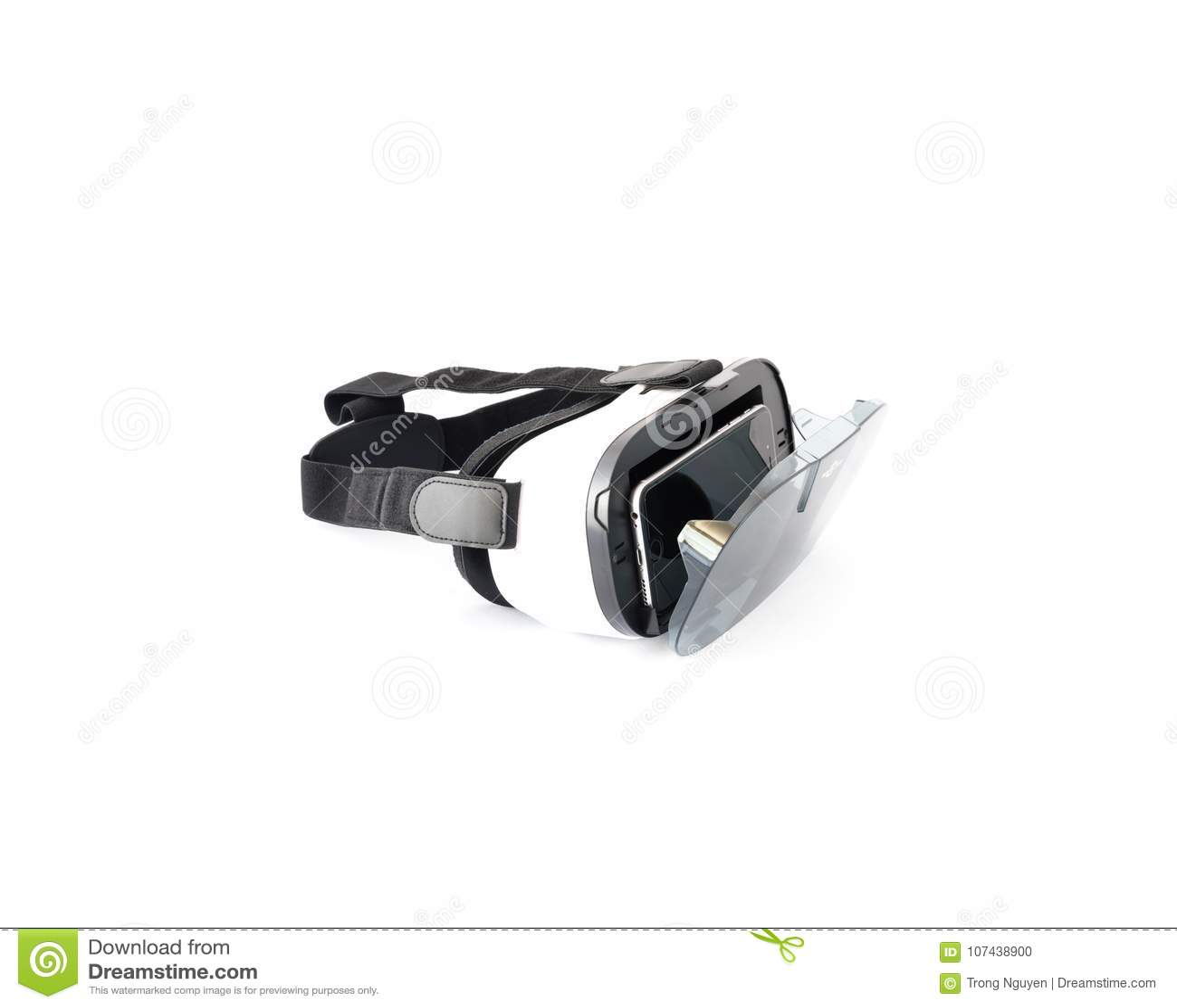 VR szkła lub rzeczywistości wirtualnej słuchawki odizolowywająca na bielu