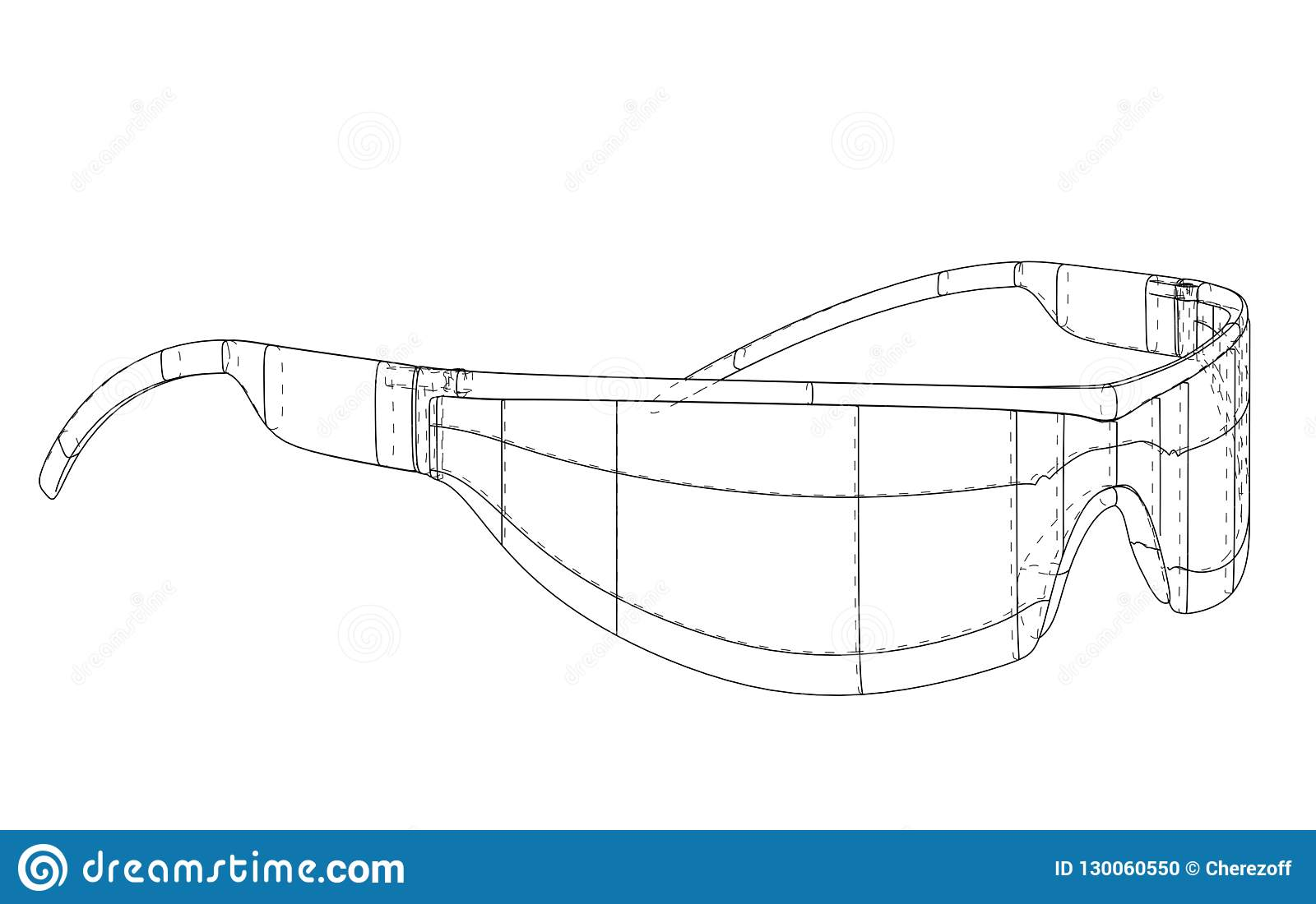 540e386449 VR Virtual Reality Glasses Concept. Vector rendering of 3d. Wire-frame  style. The layers of visible and invisible lines are separated