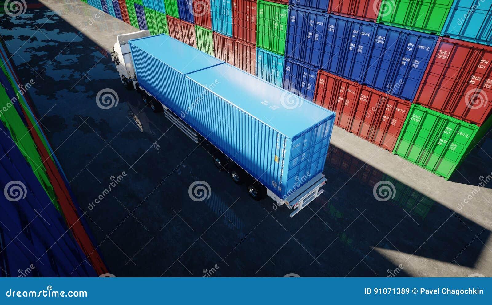 Vrachtwagen in containerdepot, pakhuis, zeehaven De containers van de lading Logistisch en bedrijfsconcept het 3d teruggeven