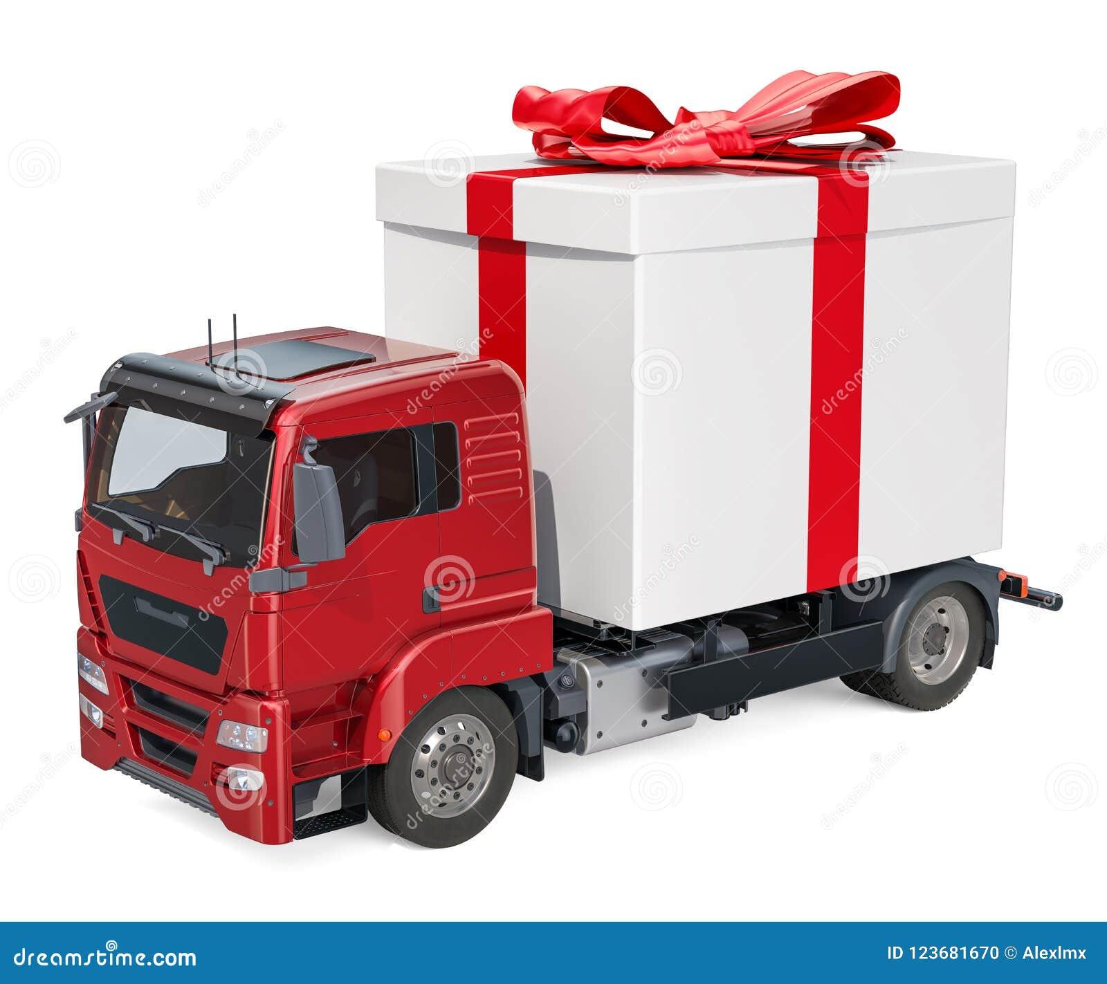 Vrachtwagen met giftdoos Het Concept van de giftlevering, het 3D teruggeven