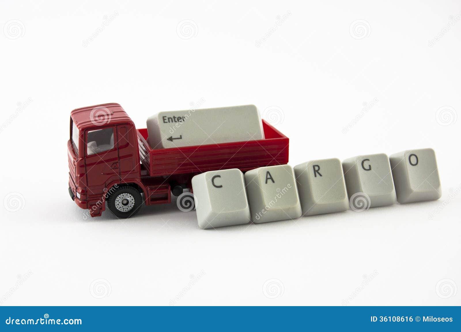 Vrachtwagenstuk speelgoed met lading van toetsenbordsleutels
