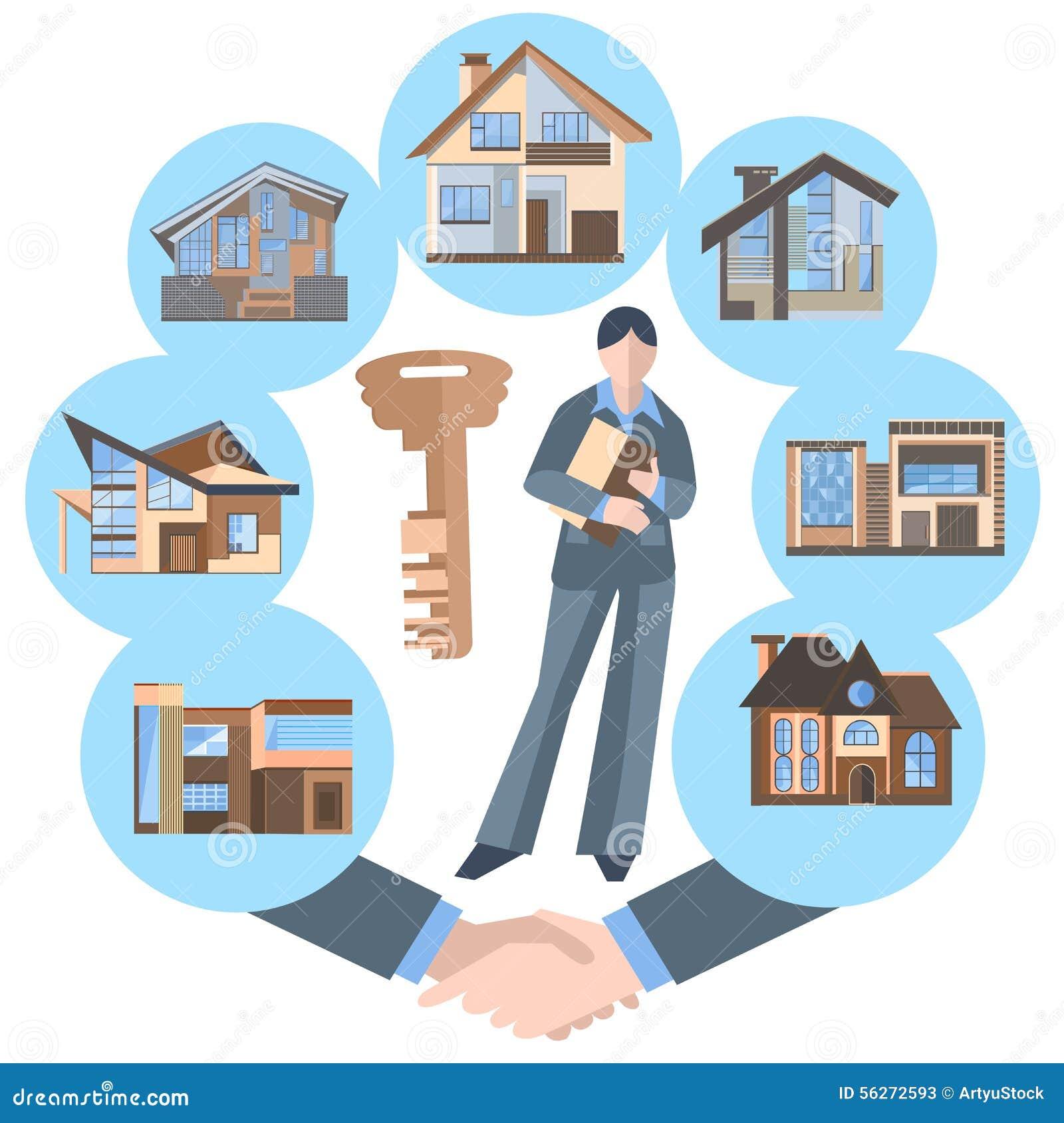5033f99c5d505c Vrai Agent Immobilier De Femme, Bâtiment, Clé, Maison Illustration ...