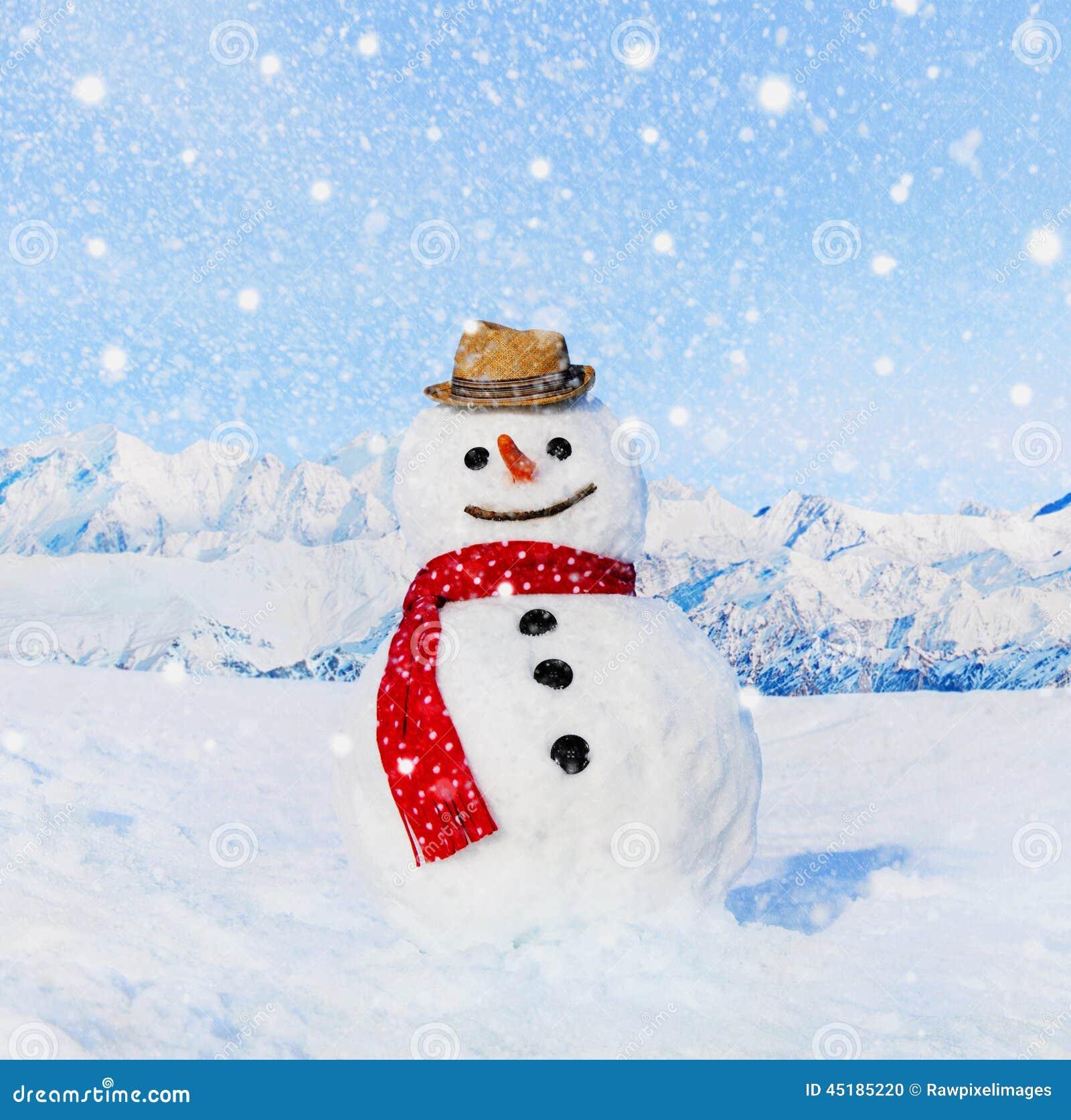 Vrai bonhomme de neige dehors dans le paysage blanc - Bonhomme de neige decoration exterieure ...