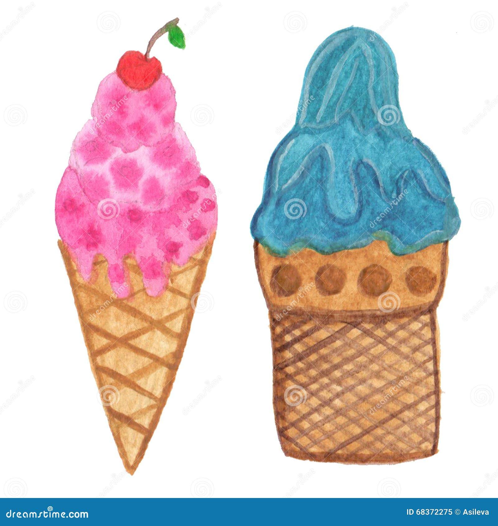 Vrai cornet de crème glacée peint à la main d aquarelle - illustration
