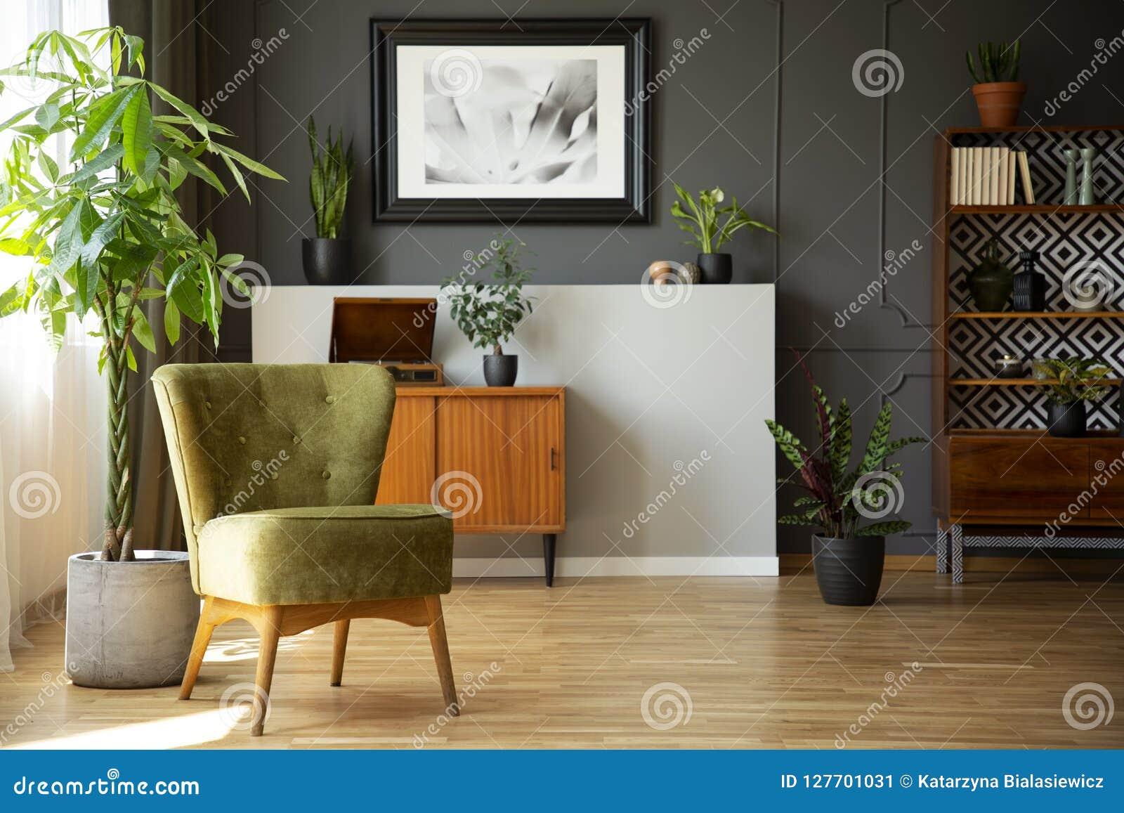 Vraie photo d intérieur foncé de salon avec le fauteuil vert, vin