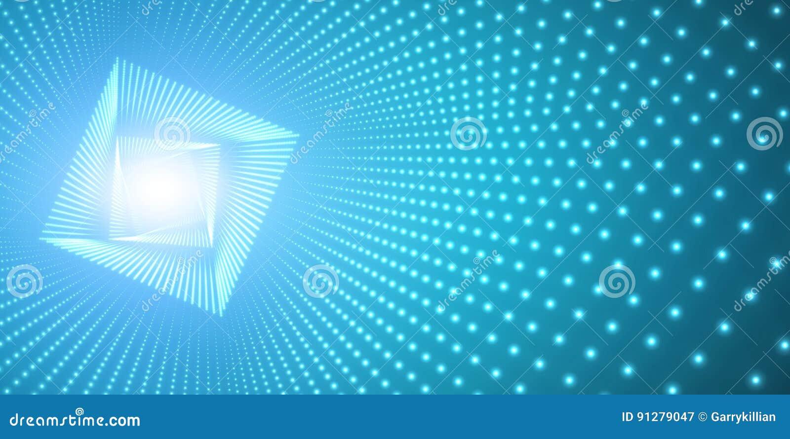 Vred den oändliga fyrkanten för vektorn tunnelen av skinande signalljus på blå bakgrund Glödande punktformtunnel