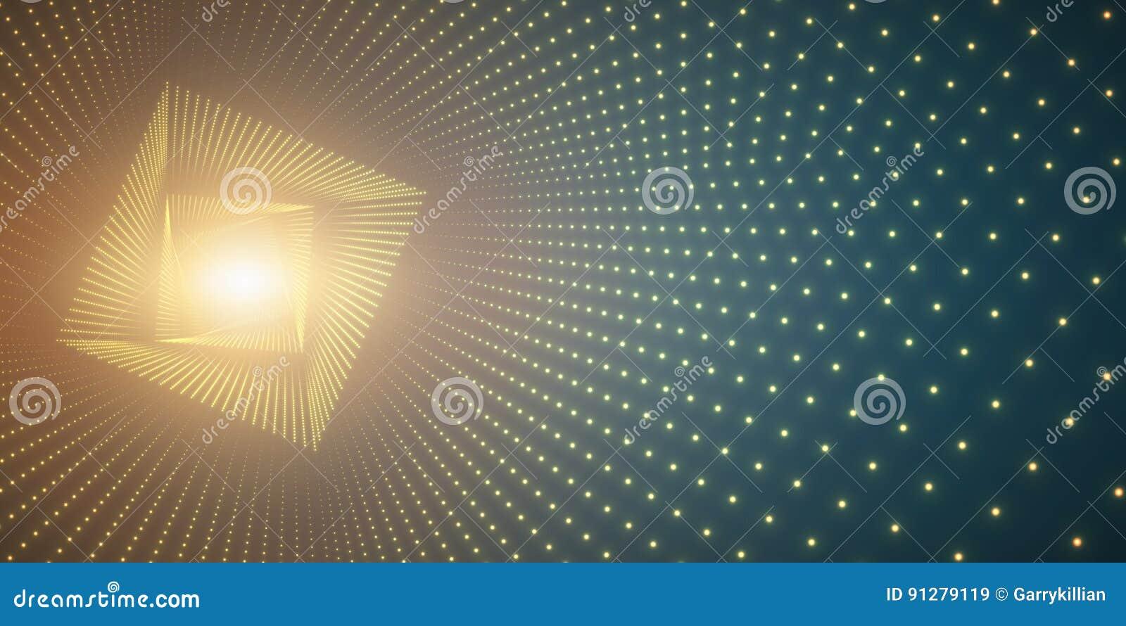 Vred den oändliga fyrkanten för vektorn tunnelen av skinande signalljus på grön bakgrund Glödande punktformtunnel