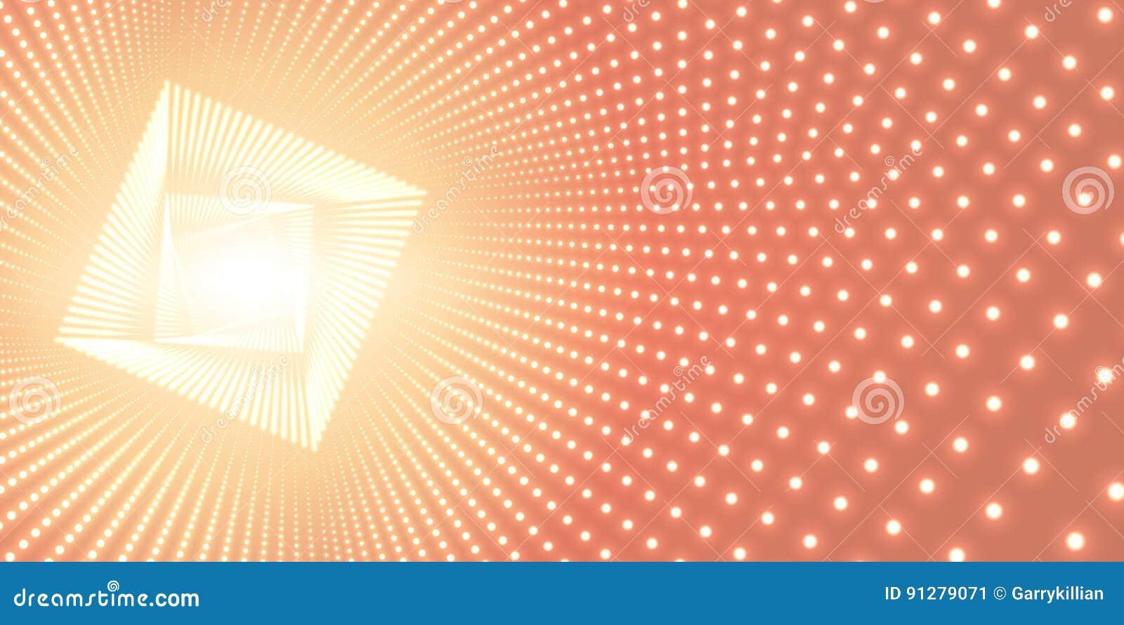 Vred den oändliga fyrkanten för vektorn tunnelen av skinande signalljus på orange bakgrund Glödande punktformtunnel