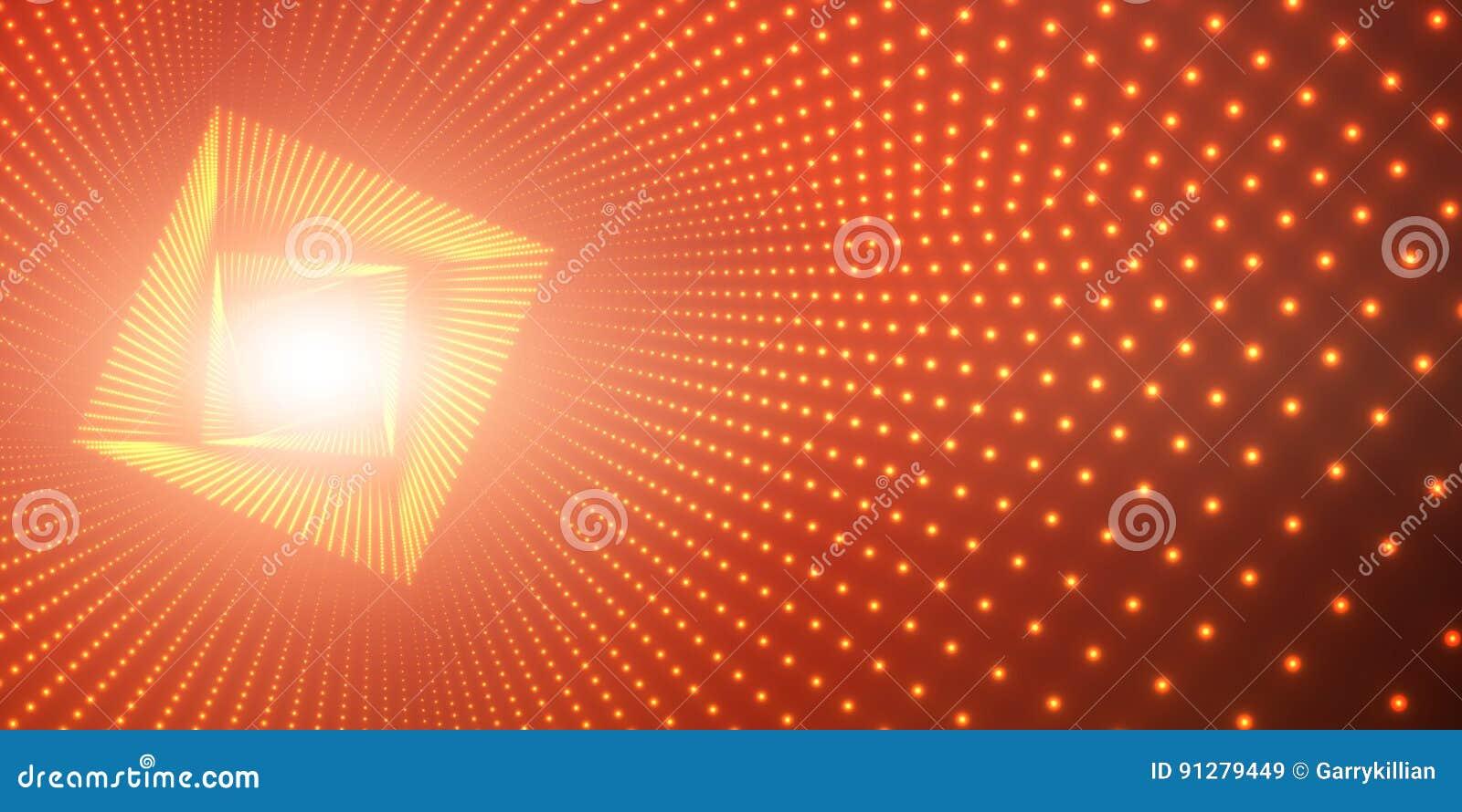 Vred den oändliga fyrkanten för vektorn tunnelen av skinande signalljus på röd bakgrund Glödande punktformtunnel