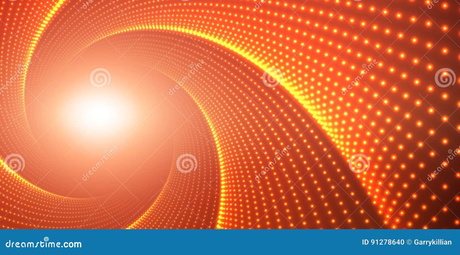 Vred den oändliga rundan för vektorn tunnelen av skinande signalljus på röd bakgrund Glödande punktformtunnel