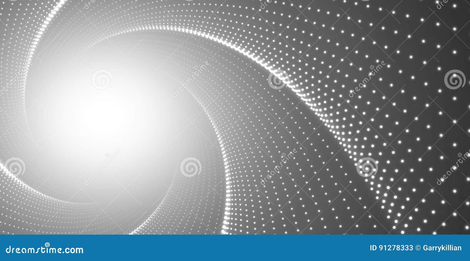 Vred den oändliga rundan för vektorn tunnelen av skinande signalljus på svart bakgrund Glödande punktformtunnel