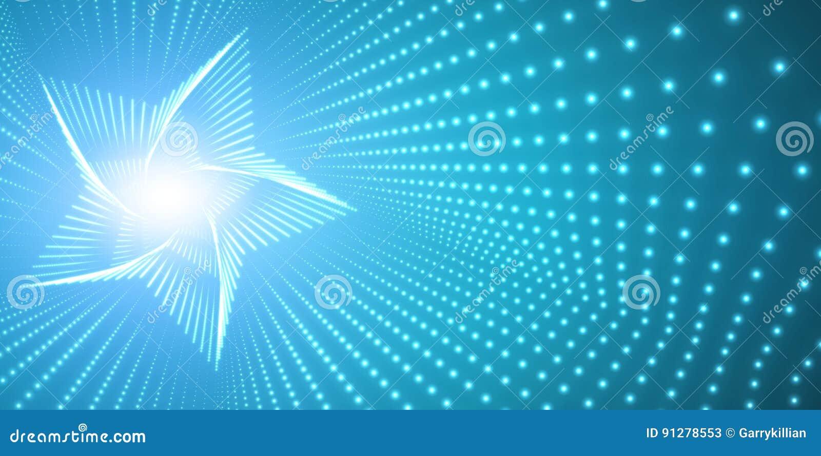 Vred den oändliga stjärnan för vektorn tunnelen av skinande signalljus på blå bakgrund Glödande punktformtunnel