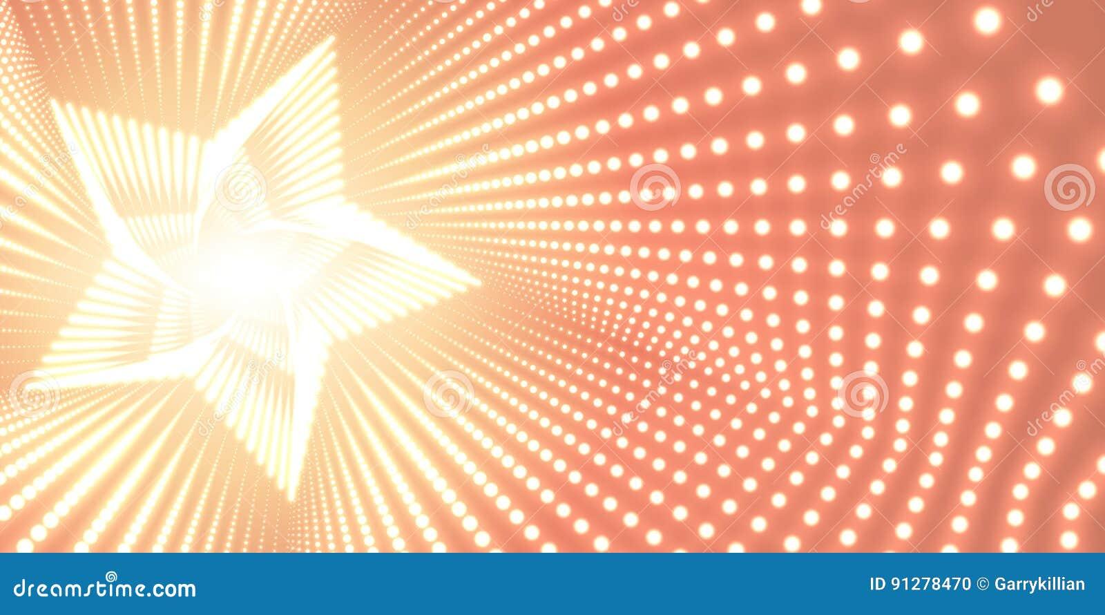 Vred den oändliga stjärnan för vektorn tunnelen av skinande signalljus på orange bakgrund Glödande punktformtunnel