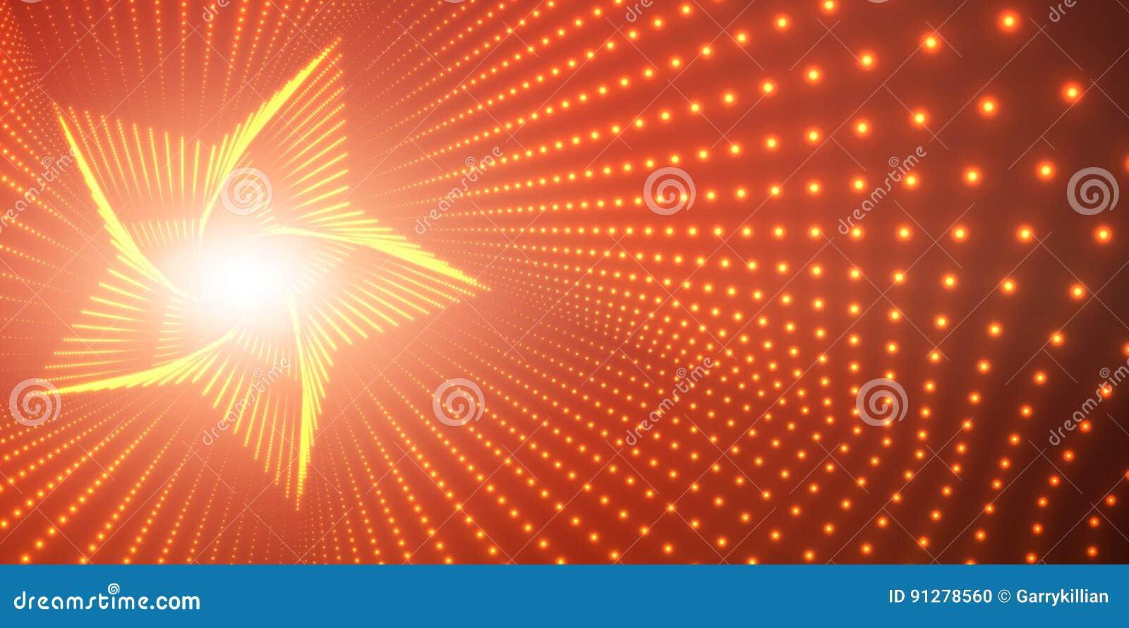 Vred den oändliga stjärnan för vektorn tunnelen av skinande signalljus på röd bakgrund Glödande punktformtunnel per