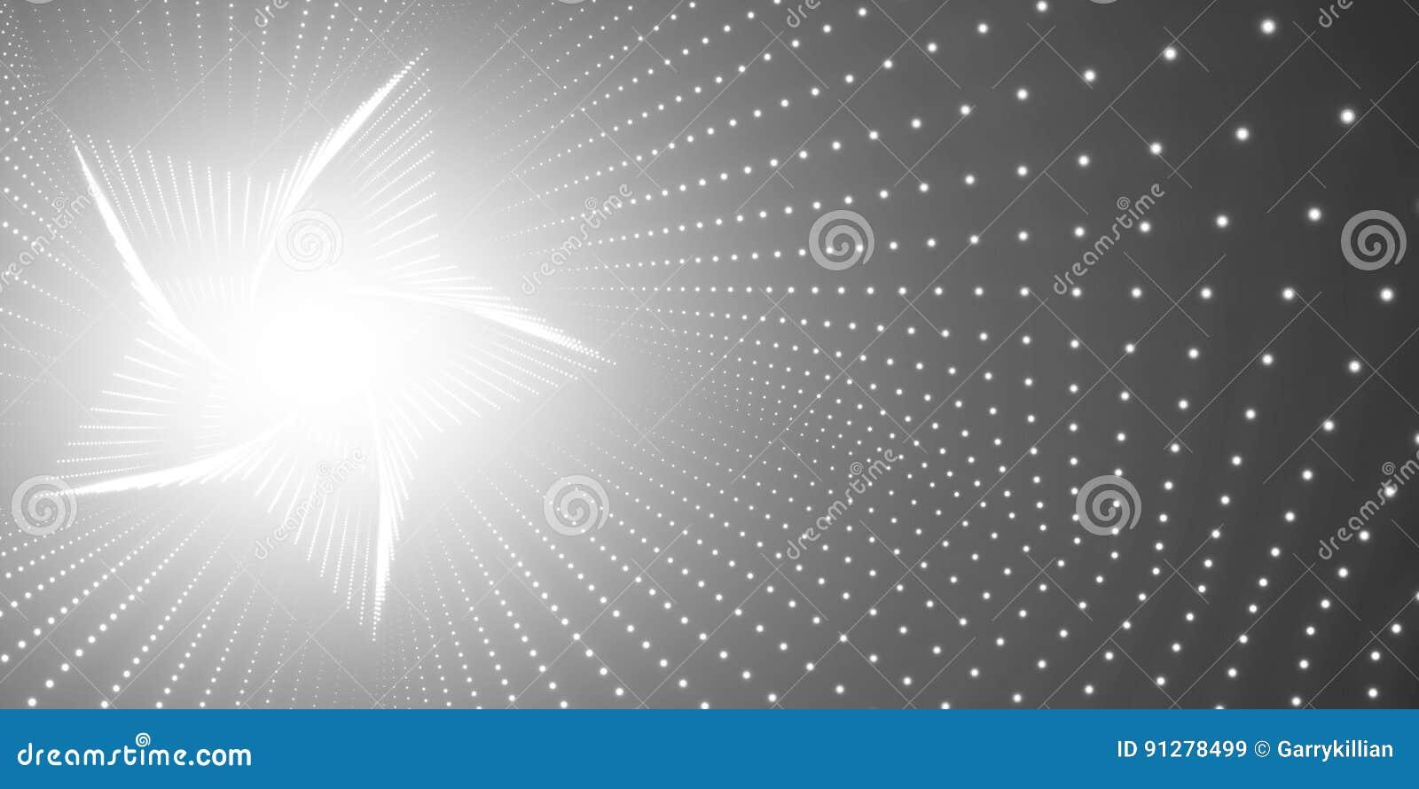 Vred den oändliga stjärnan för vektorn tunnelen av skinande signalljus på svart bakgrund Glödande punktformtunnel