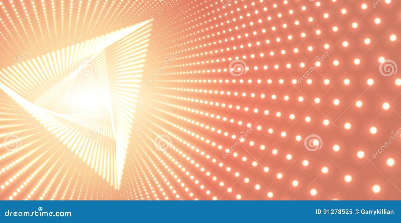 Vred den oändliga triangeln för vektorn tunnelen av skinande signalljus på orange bakgrund Glödande punktformtunnel