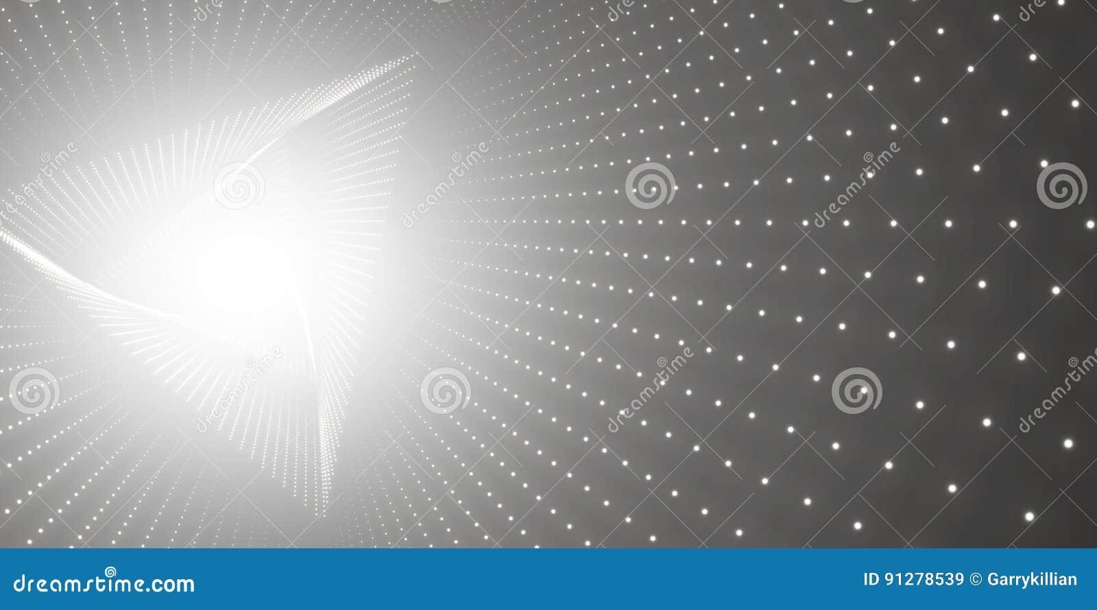 Vred den oändliga triangeln för vektorn tunnelen av skinande signalljus på svart bakgrund Glödande punktformtunnel