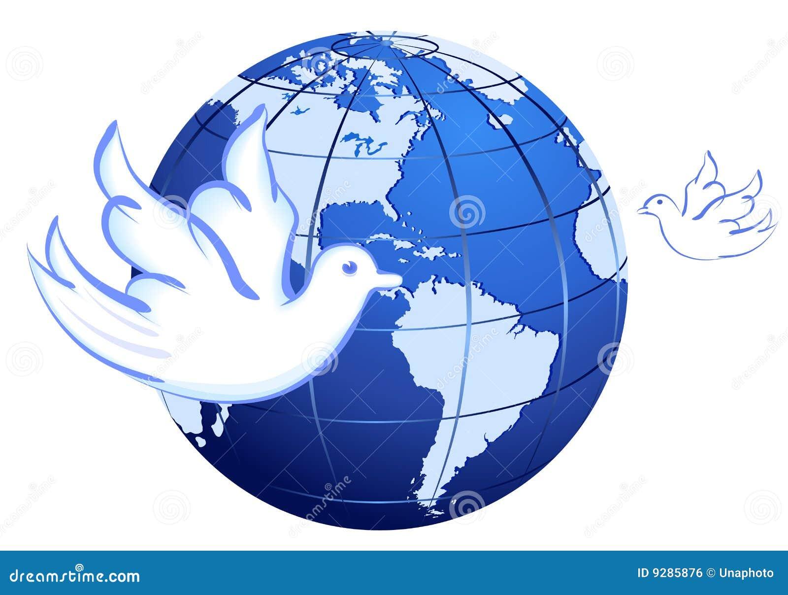 vrede aan de wereld met duiven wit vector illustratie
