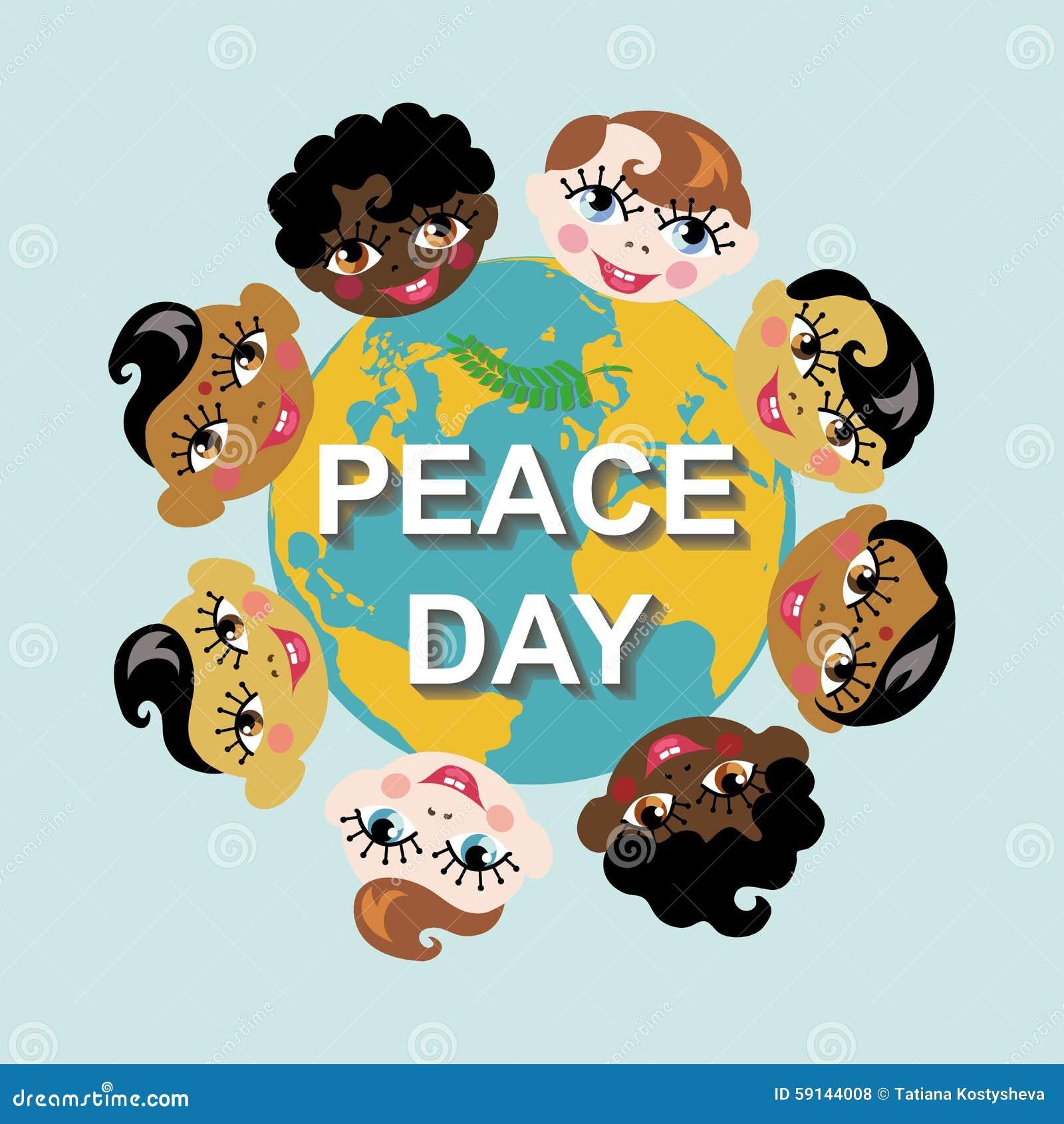 Vredesdag Aardebol, kinderen van diverse natie