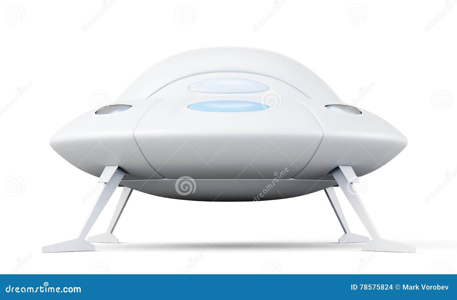 Vreemd vliegend die voorwerp op witte achtergrond wordt geïsoleerd het 3d teruggeven