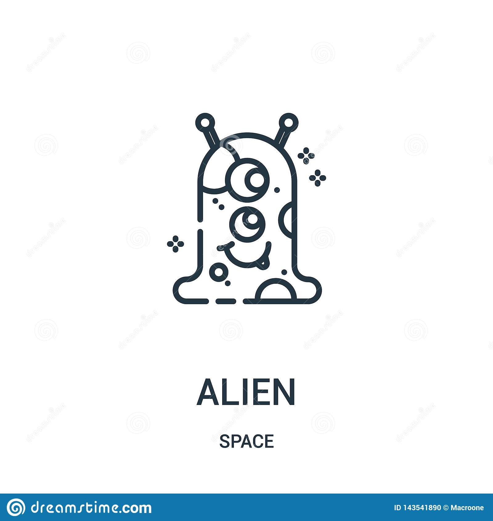 Vreemde pictogramvector van ruimteinzameling Dunne het pictogram vectorillustratie van het lijn vreemde overzicht