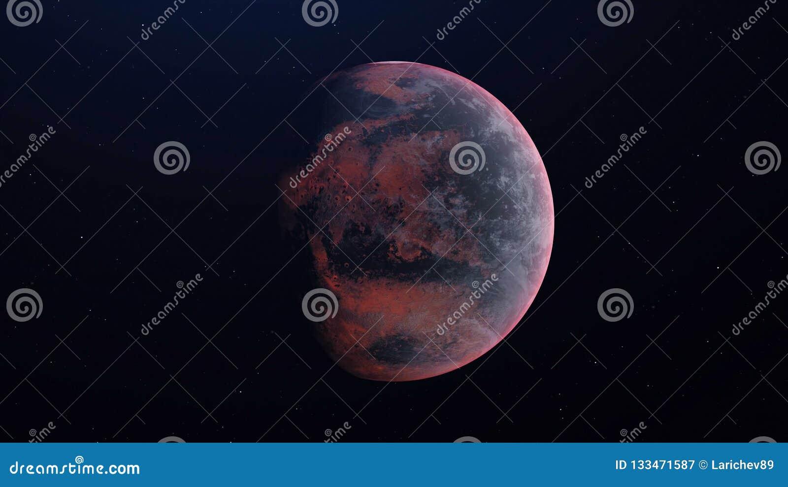 Vreemde Planeet in de kosmische ruimte - Teruggegeven 3D