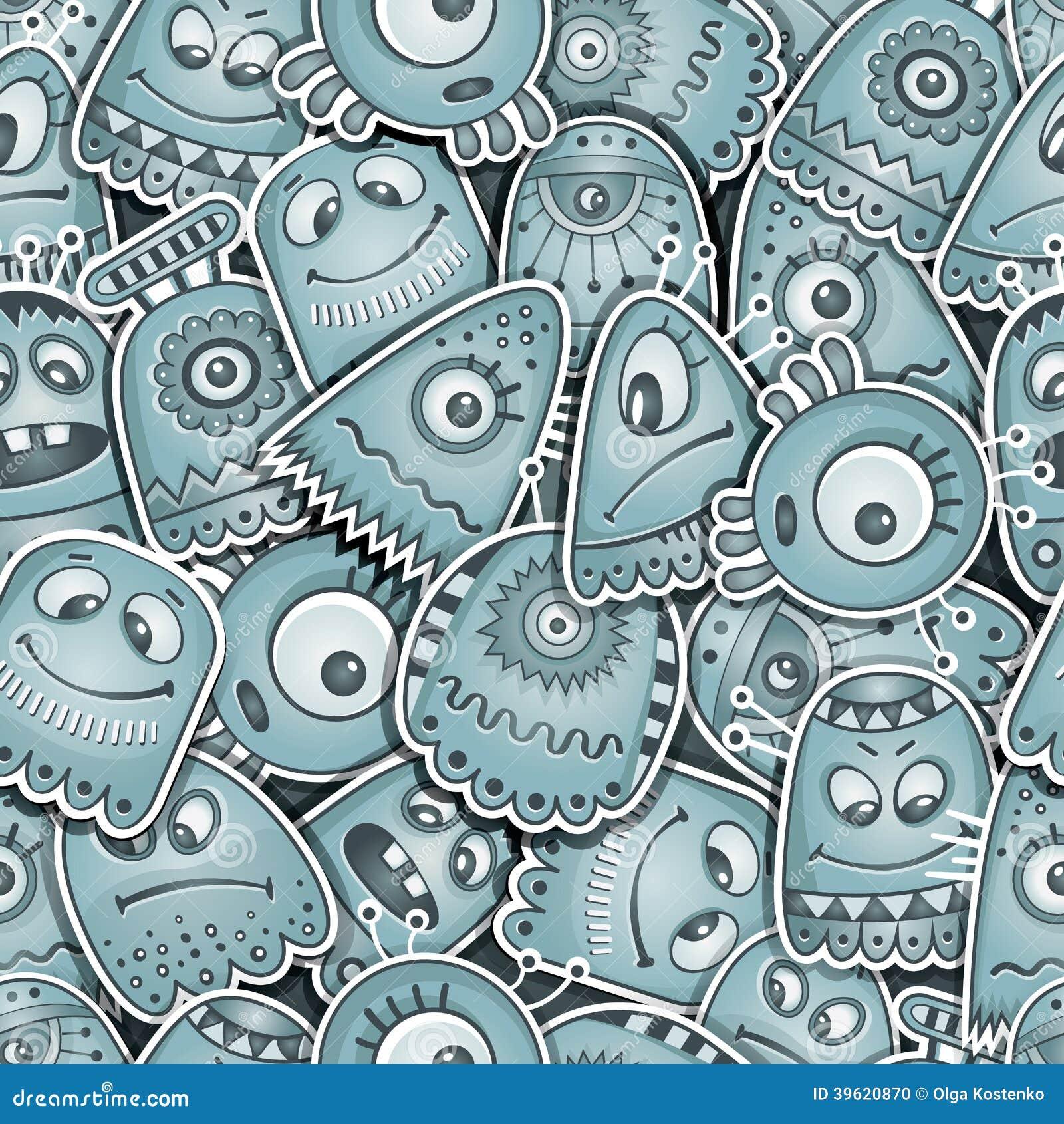 Vreemdeling en monsters naadloos patroon