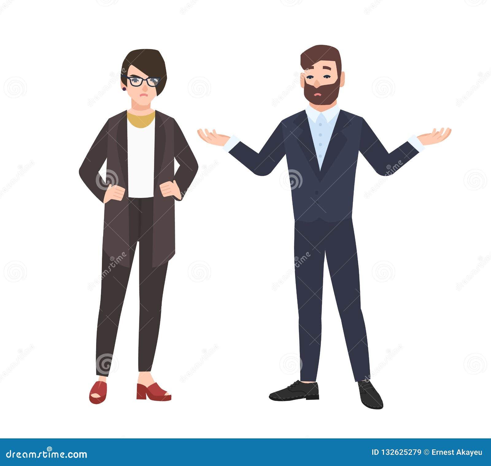 Vresigt kvinnligt framstickande och manlig anställd som isoleras på vit bakgrund Ilsken chef eller direktör som kritiserar eller