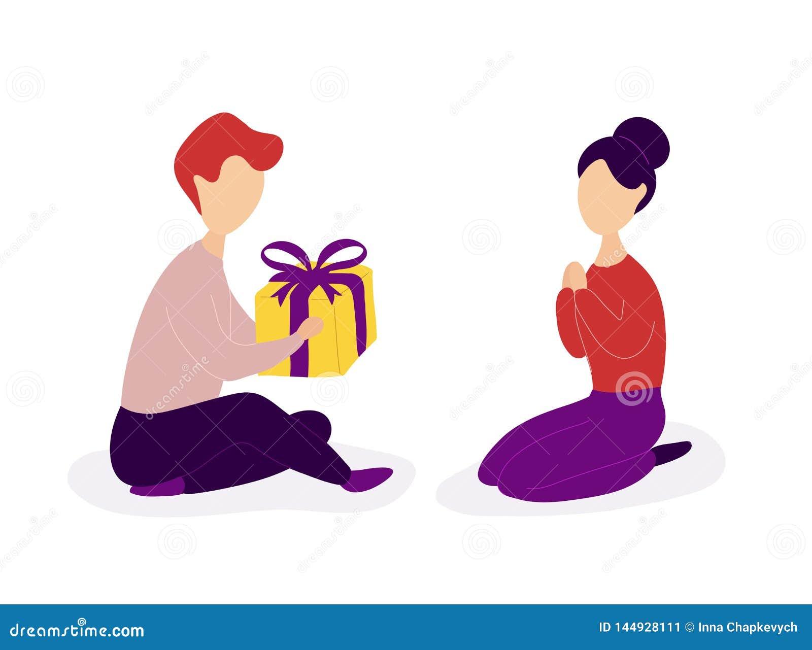 Vriend die romantische gift geven aan meisje