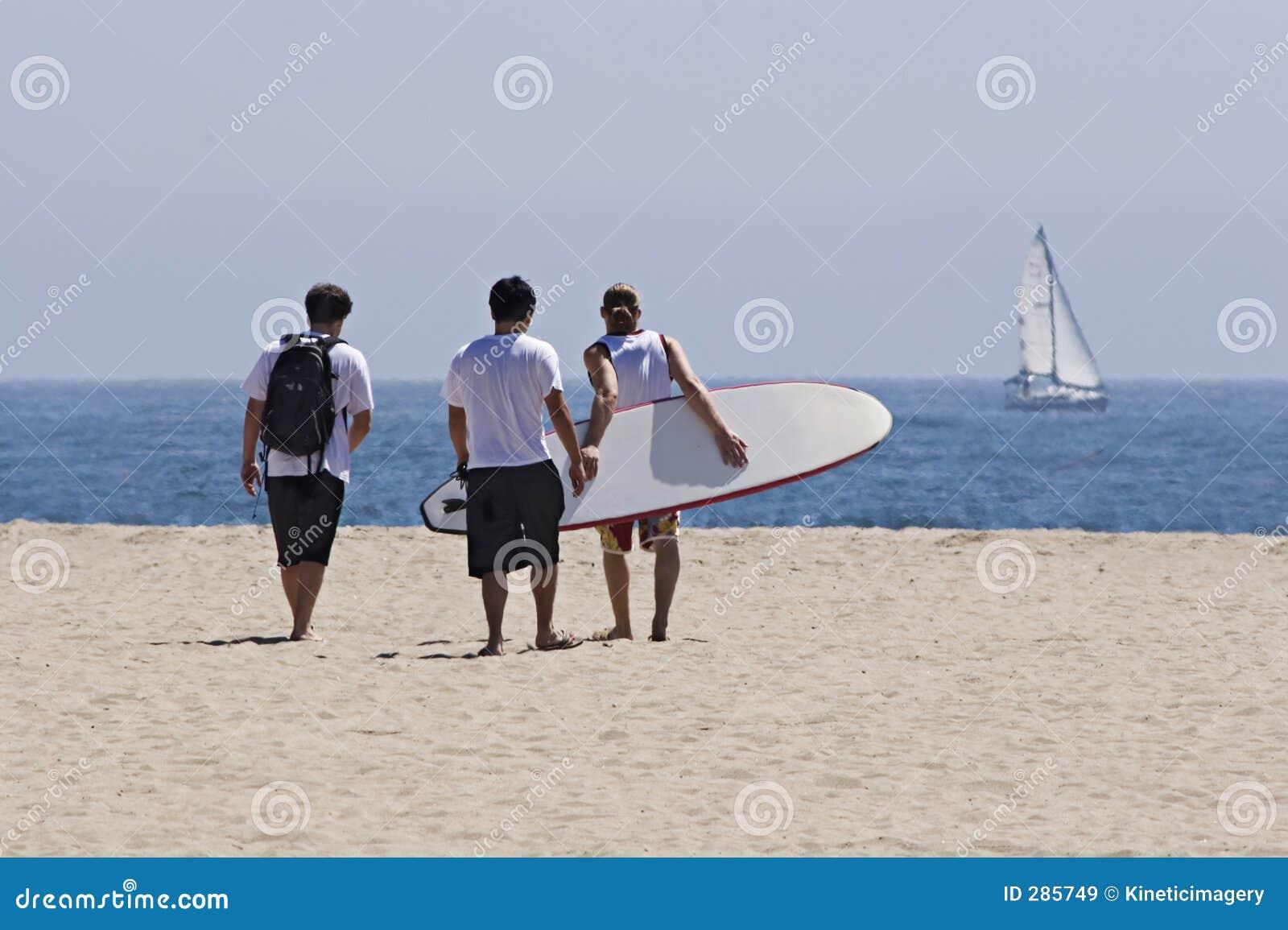 Vrienden bij het strand