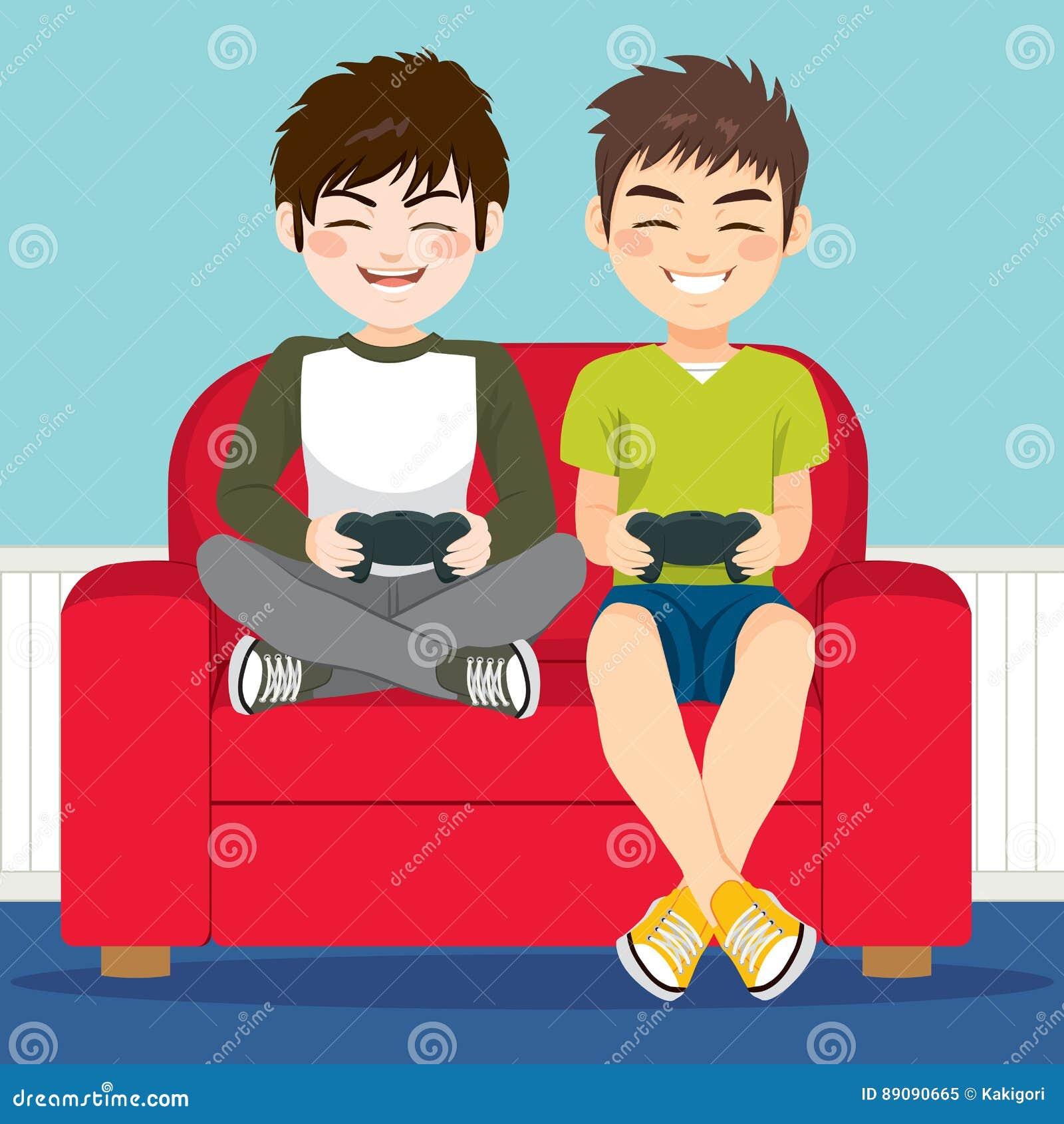 Vrienden die videospelletjes spelen