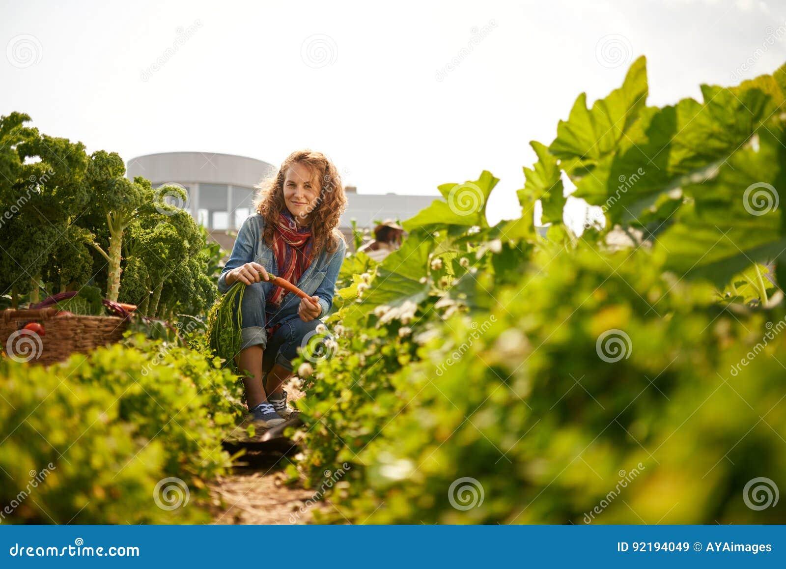 Vriendschappelijke vrouw die verse groenten van de tuin van de dakserre oogsten