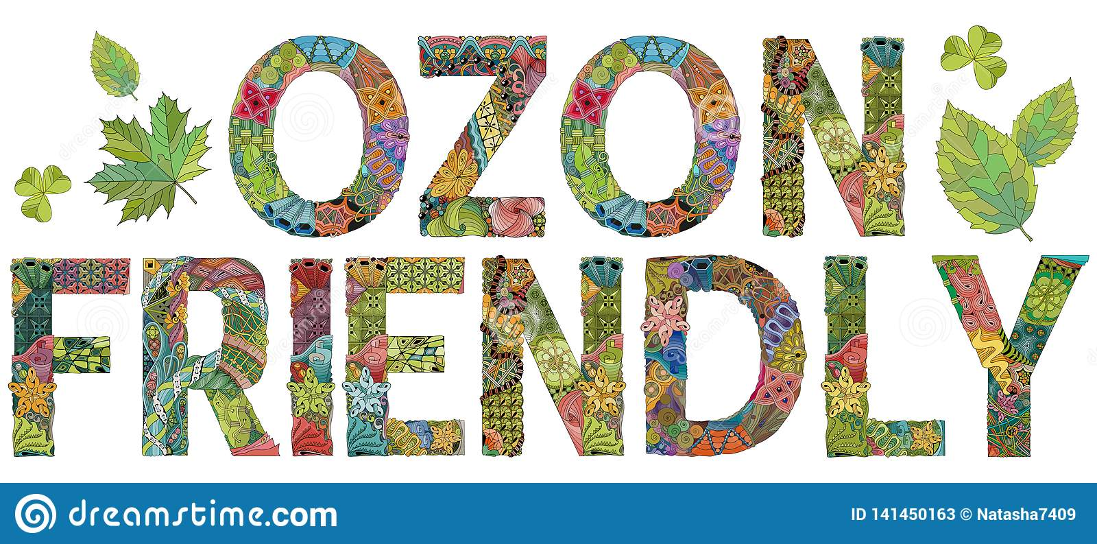 VRIENDSCHAPPELIJKE woorden OZON Vectorzentanglevoorwerp voor decoratie