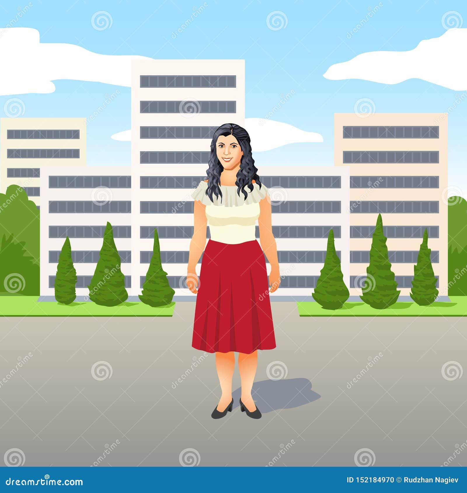 Vrij jonge Latino vrouw in een modieuze rode rok status die in de straat glimlachen