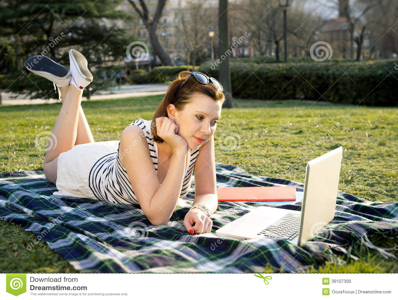 Vrij rode haarvrouw die aan laptop in park werken
