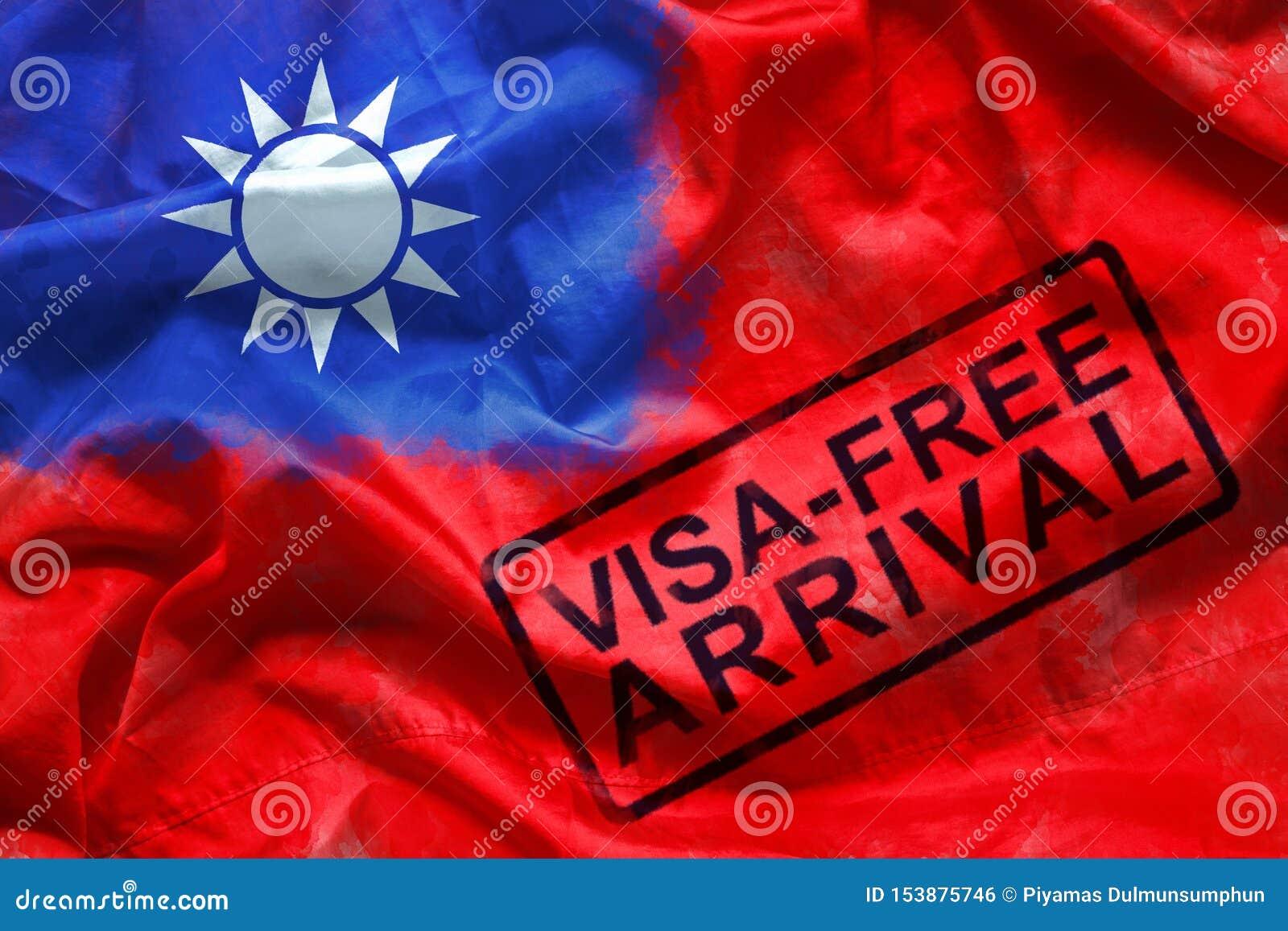 Vrij visum voor bezoeker aan ingang aan het land van Taiwan, zegel van de visum de vrije aankomst op de vlagachtergrond van Taiwa