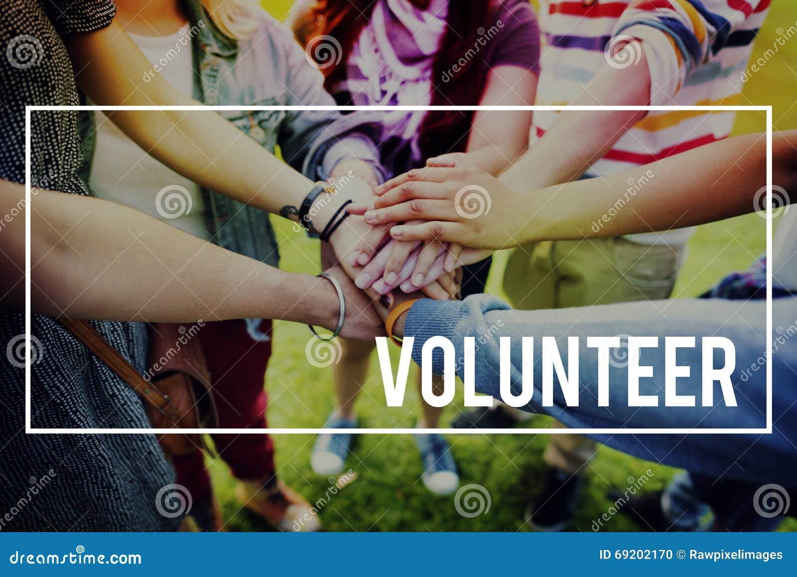 Vrijwilligersliefdadigheid die Handen helpen Concept geven