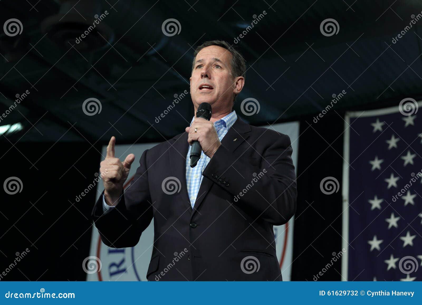 Vroegere Senator van Verenigde Staten van Pennsylvania, Republikeins Rick Santorum, campagnes voor voorzitterschap