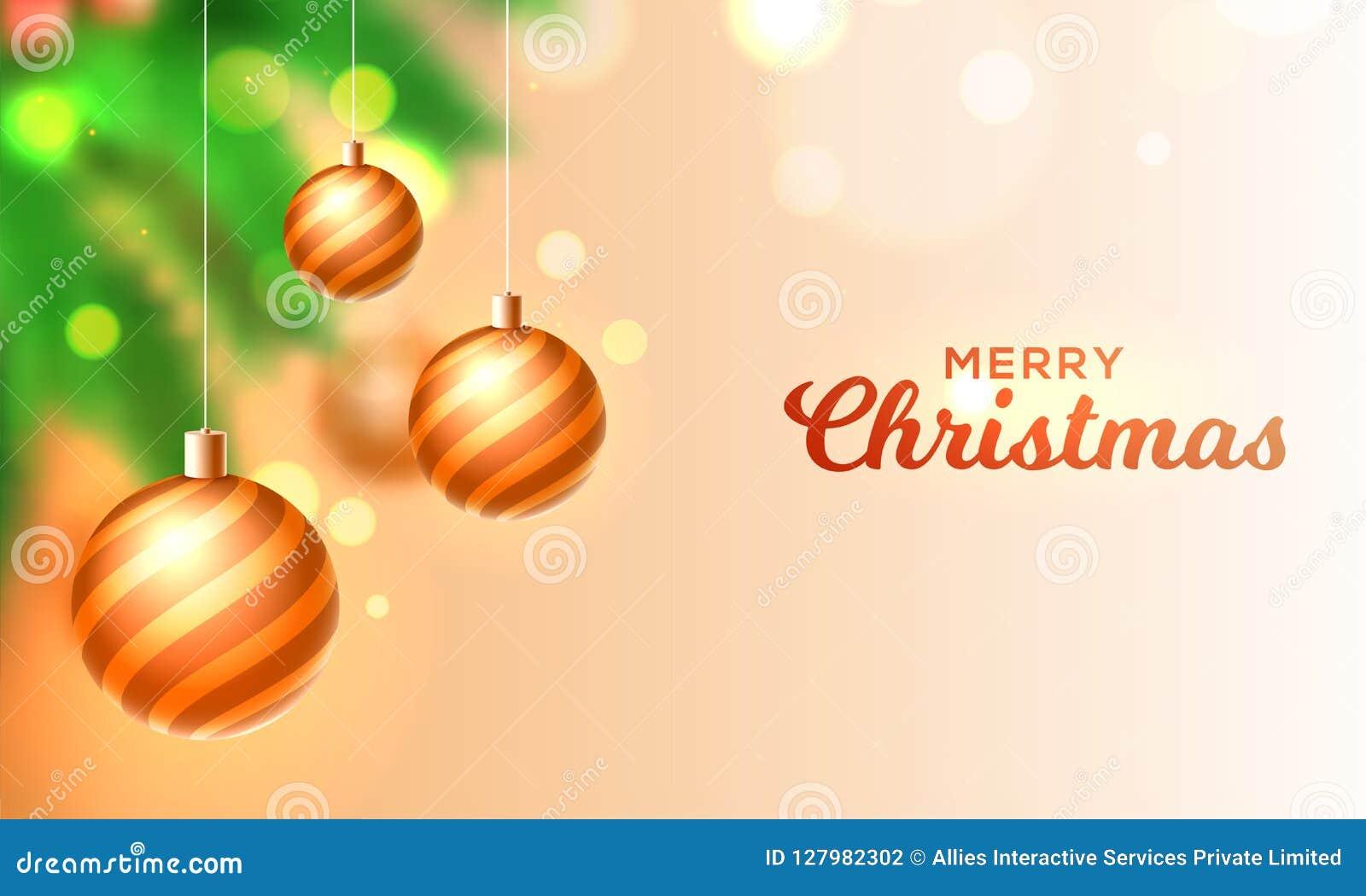 Vrolijk die de kaartontwerp van de Kerstmisgroet met het hangen van goud wordt verfraaid