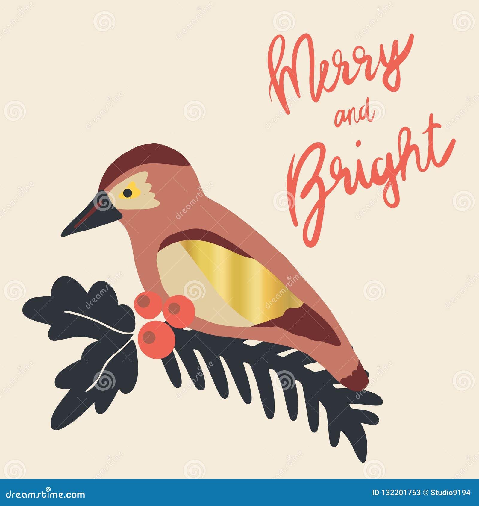 Vrolijk en de Heldere illustratie van de Kerstmisvakantie Maretak branc