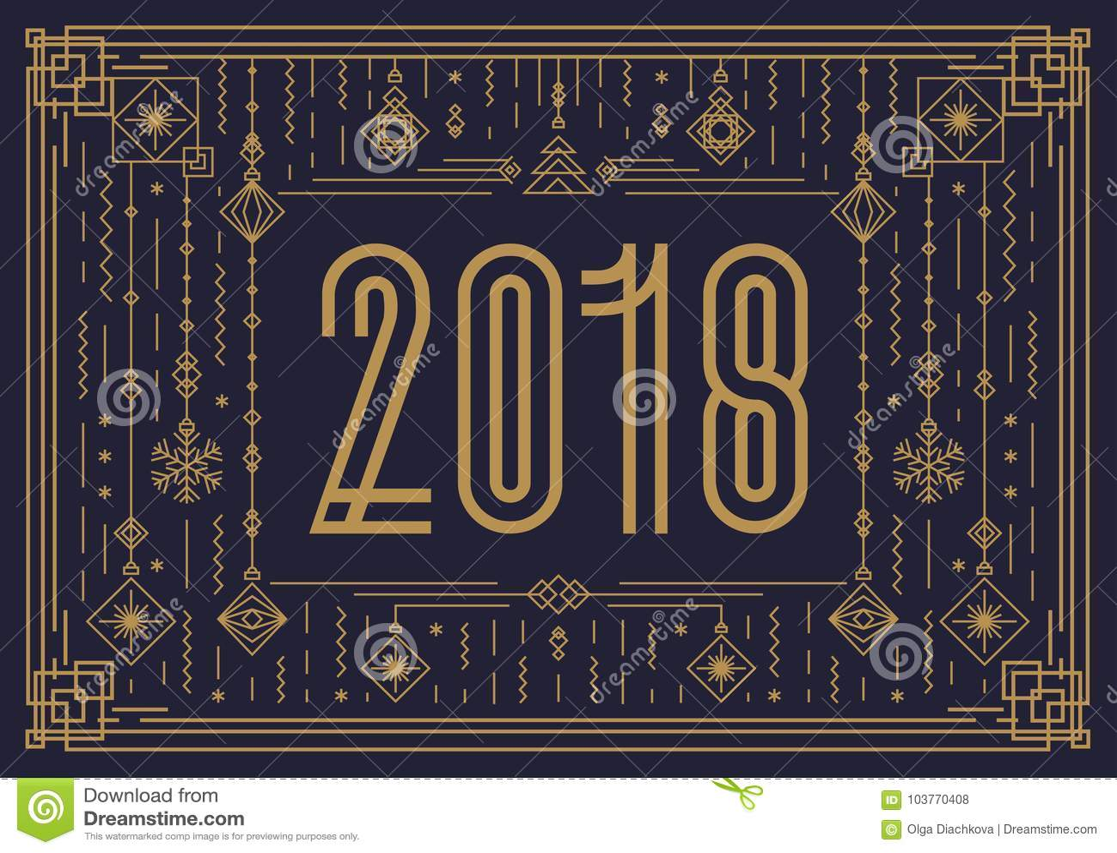 Vrolijk Kerstkaartmalplaatje met teken 2018 en nieuwe jaarstuk speelgoed gouden art decostijl