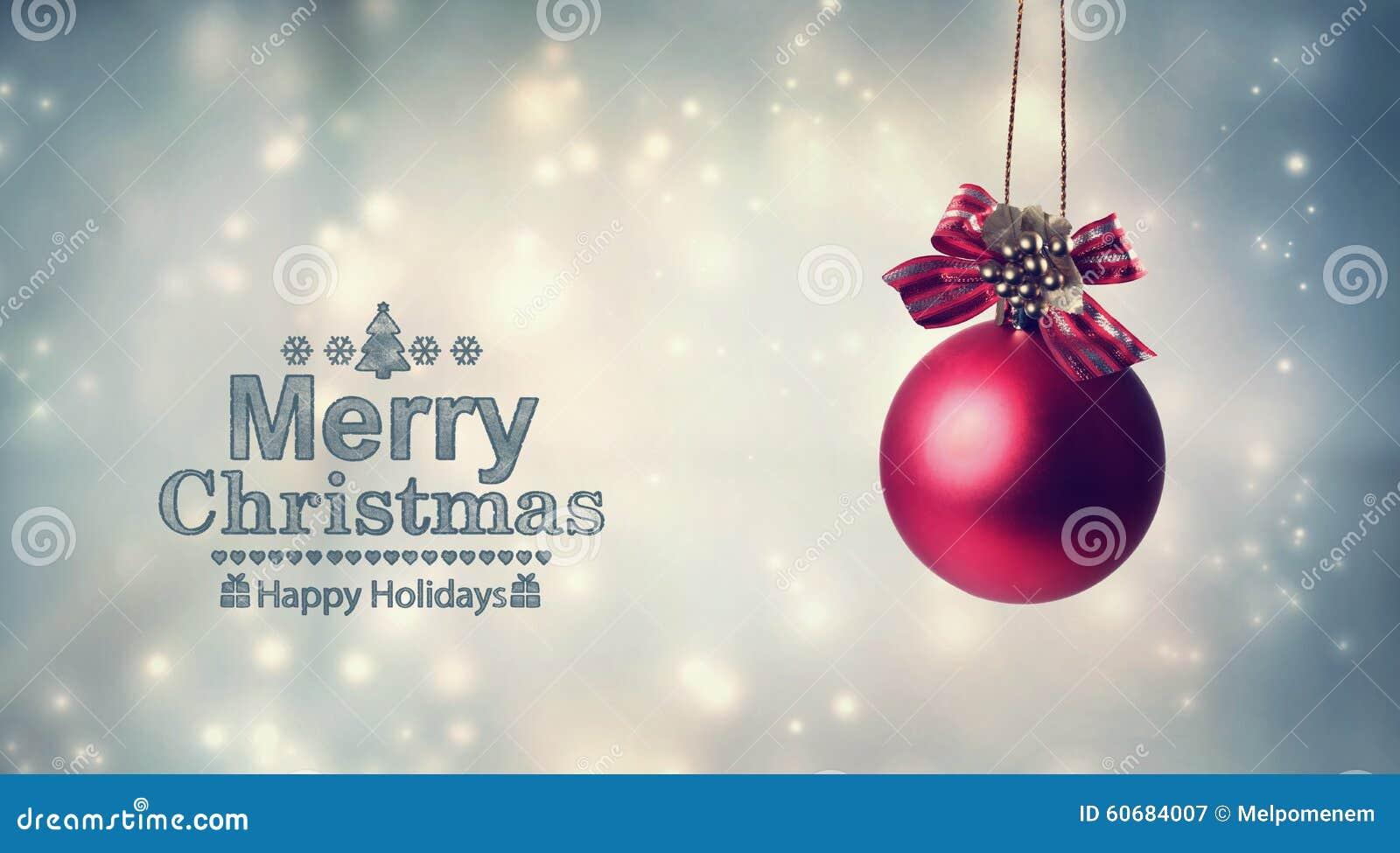 Vrolijk Kerstmisbericht met een hangende snuisterij