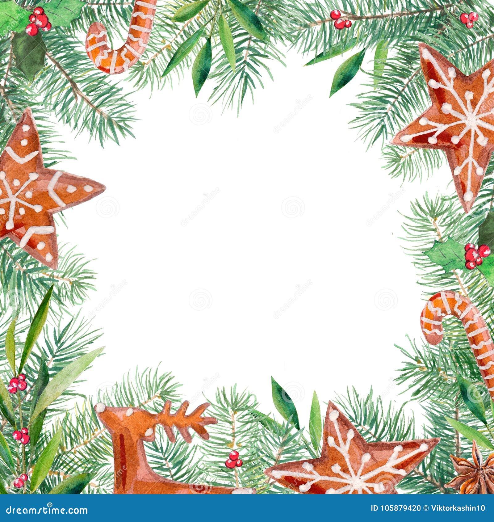 Vrolijk Kerstmispatroon, peperkoek, spar, olijf, hulstgrens Kader van de waterverf handdrawn illustratie
