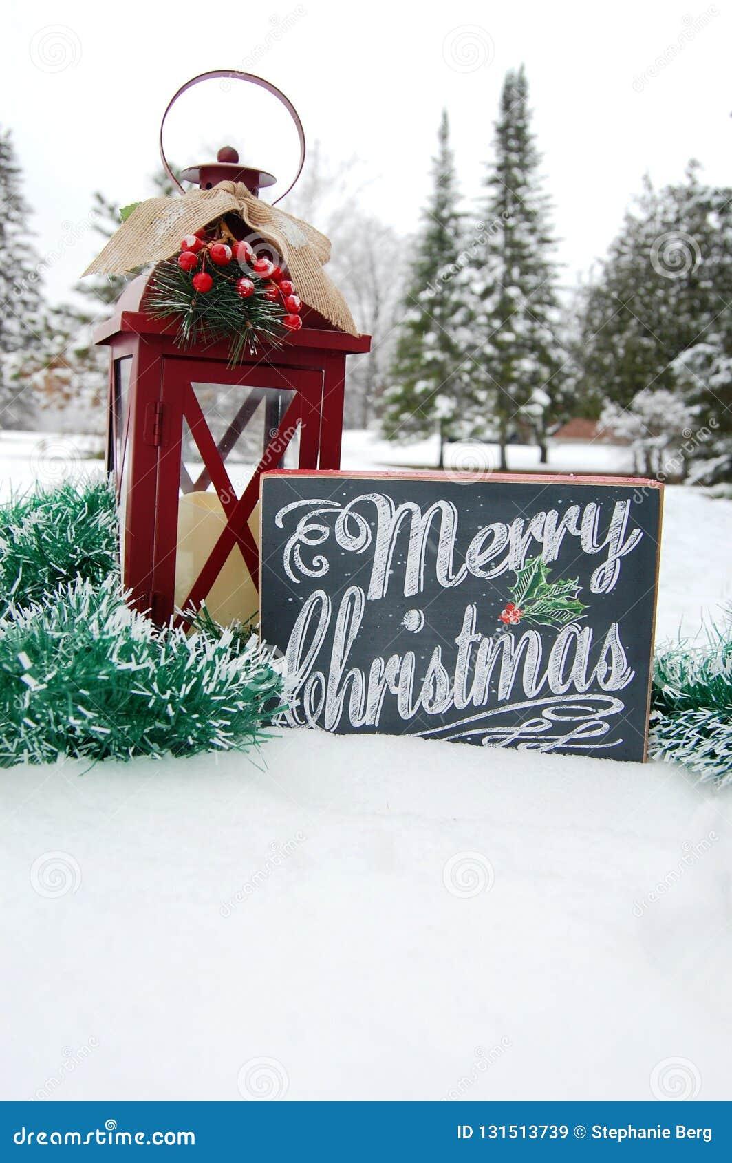 Vrolijk Kerstmisteken in Sneeuw